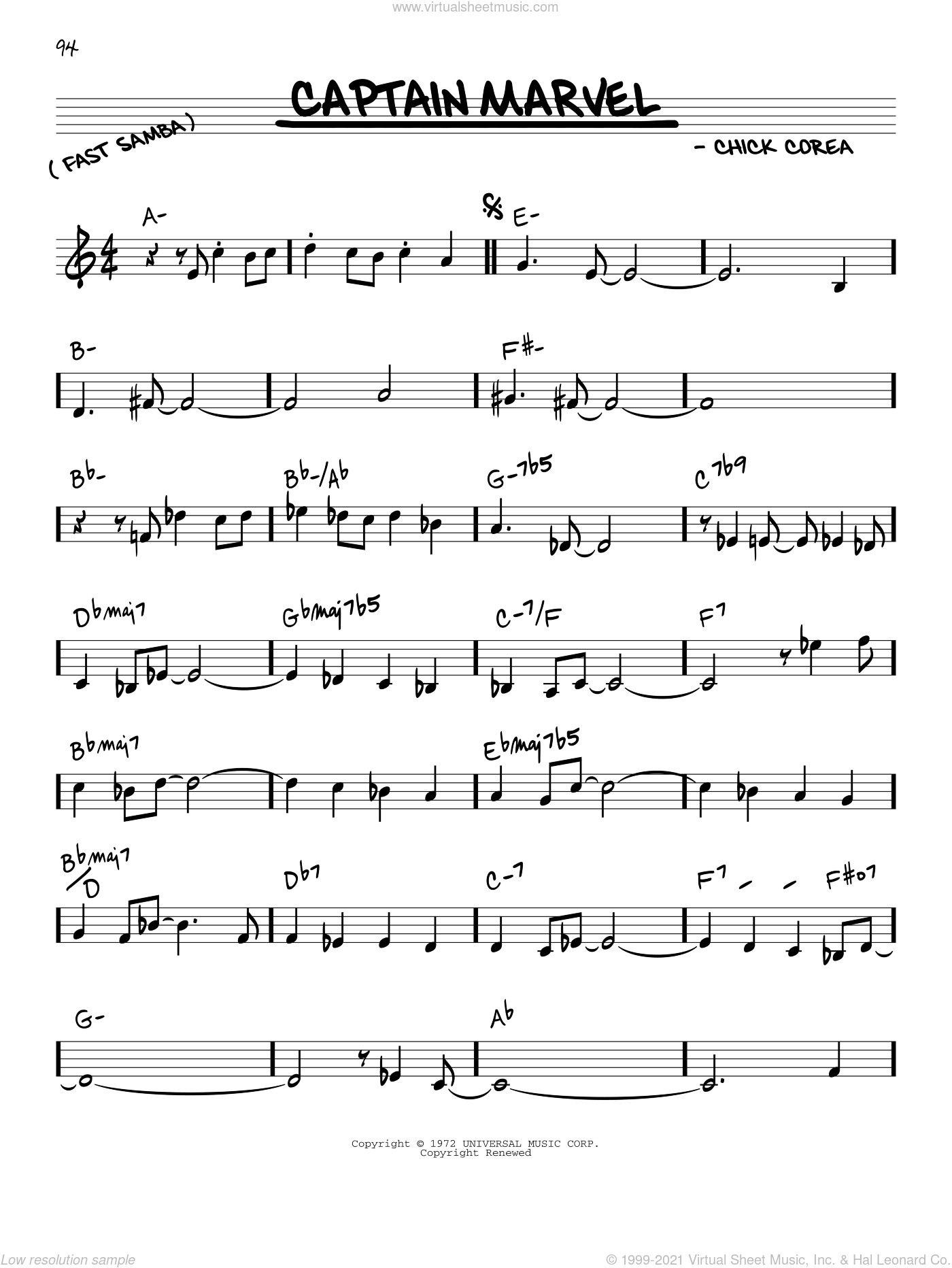 Captain Marvel sheet music for voice and other instruments (in C) by Chick Corea, intermediate skill level