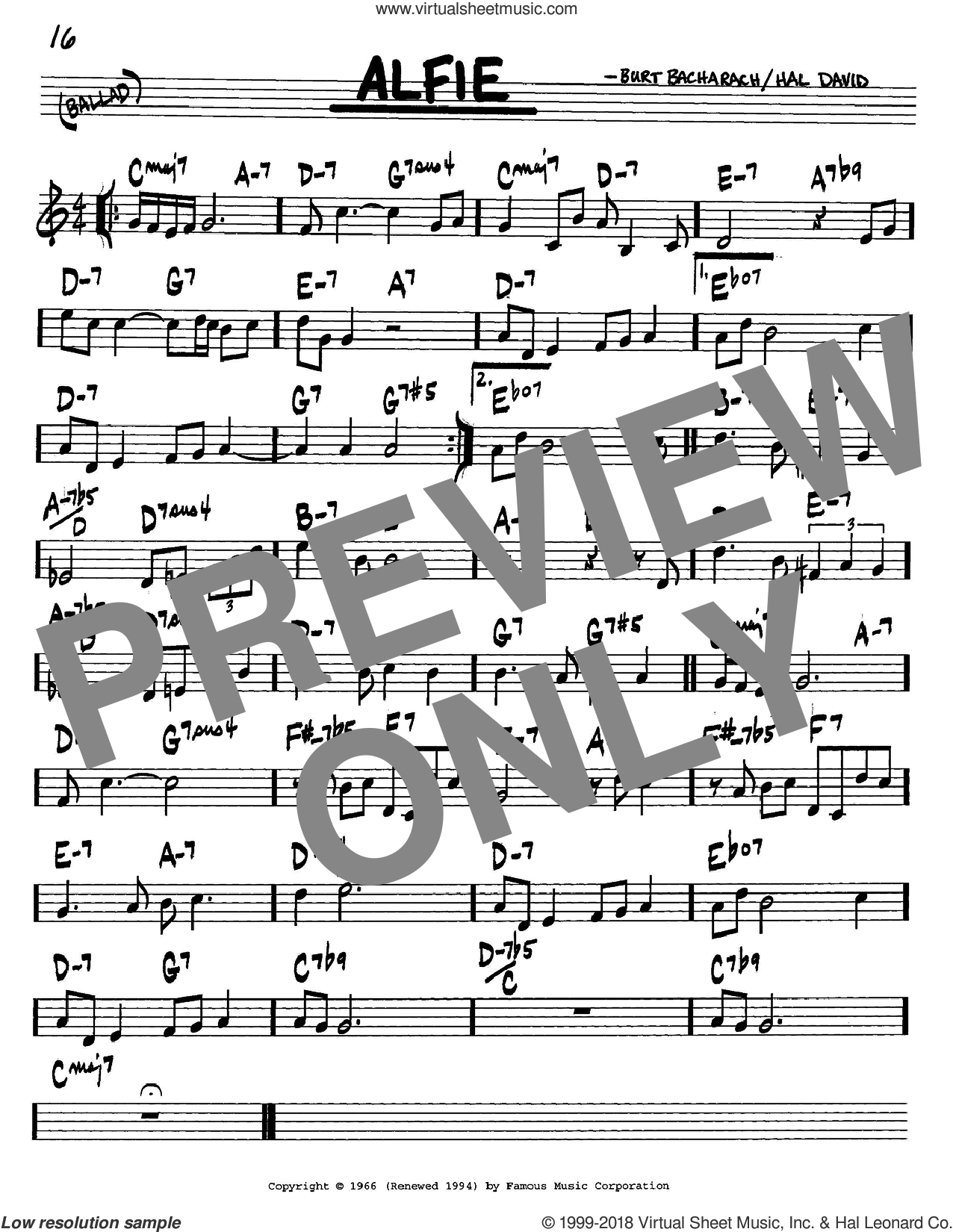 Alfie sheet music for voice and other instruments (in C) by Bacharach & David, Burt Bacharach and Hal David, intermediate. Score Image Preview.