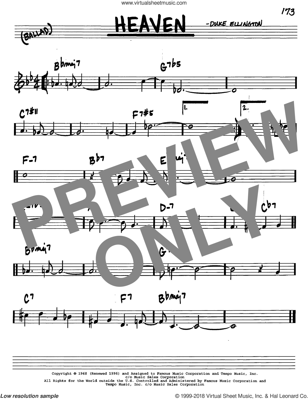 Heaven sheet music for voice and other instruments (in C) by Duke Ellington, intermediate skill level