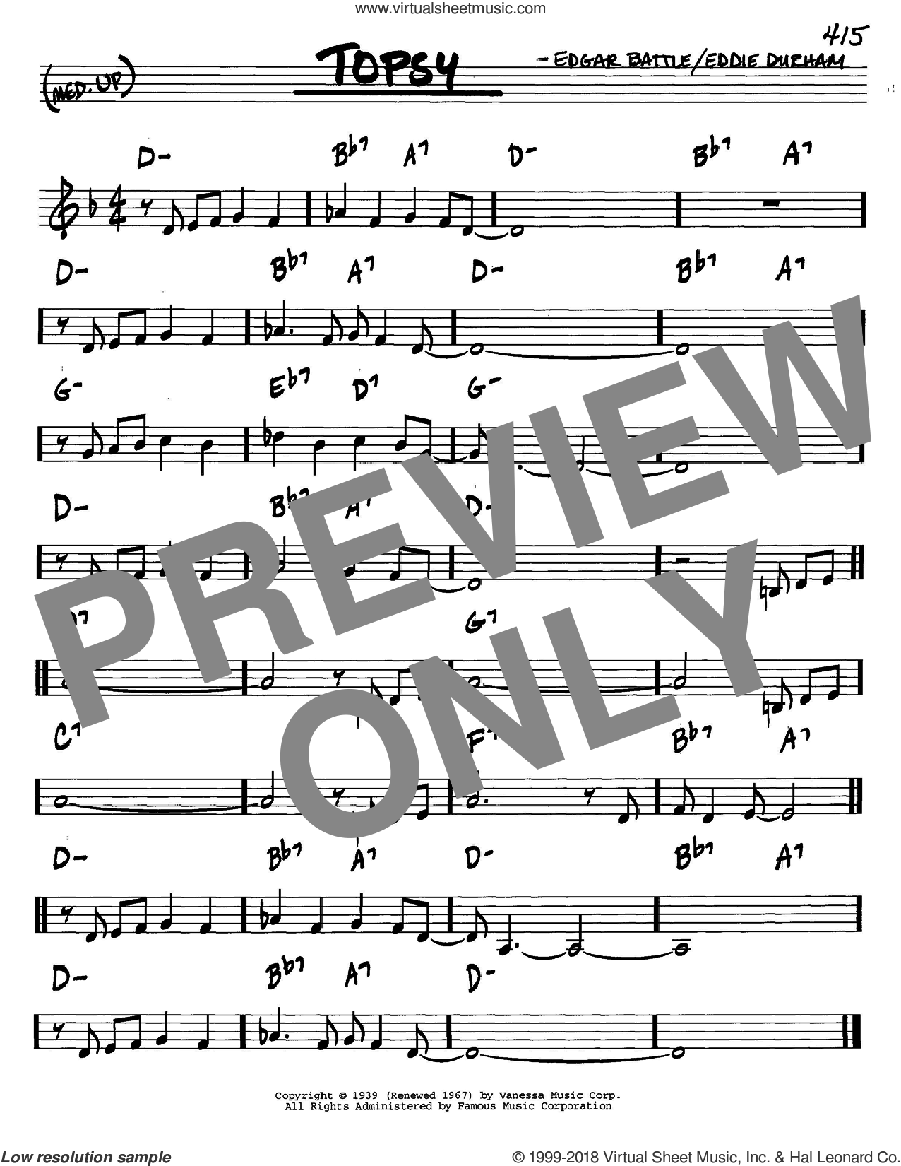 Topsy sheet music for voice and other instruments (C) by Edgar Battle, Cozy Cole and Eddie Durham. Score Image Preview.