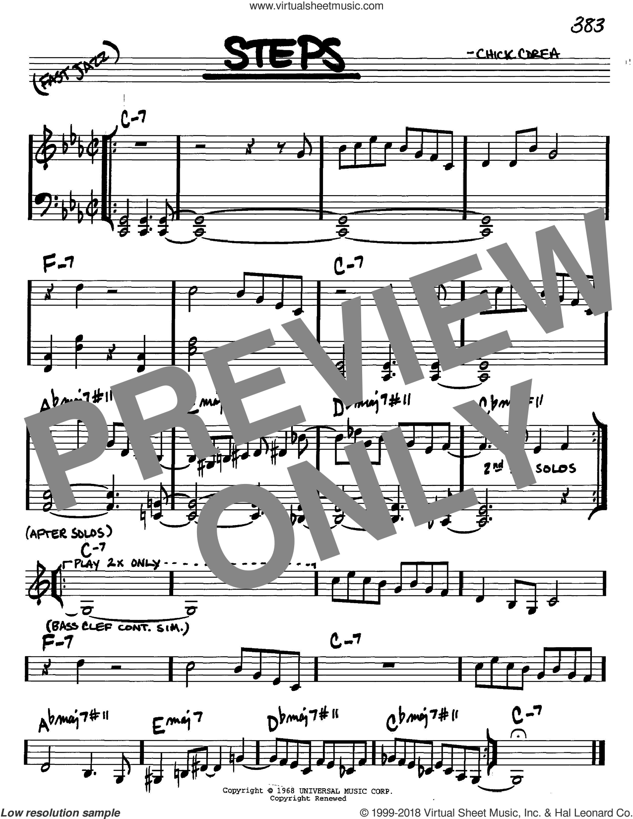 Steps sheet music for voice and other instruments (C) by Chick Corea. Score Image Preview.