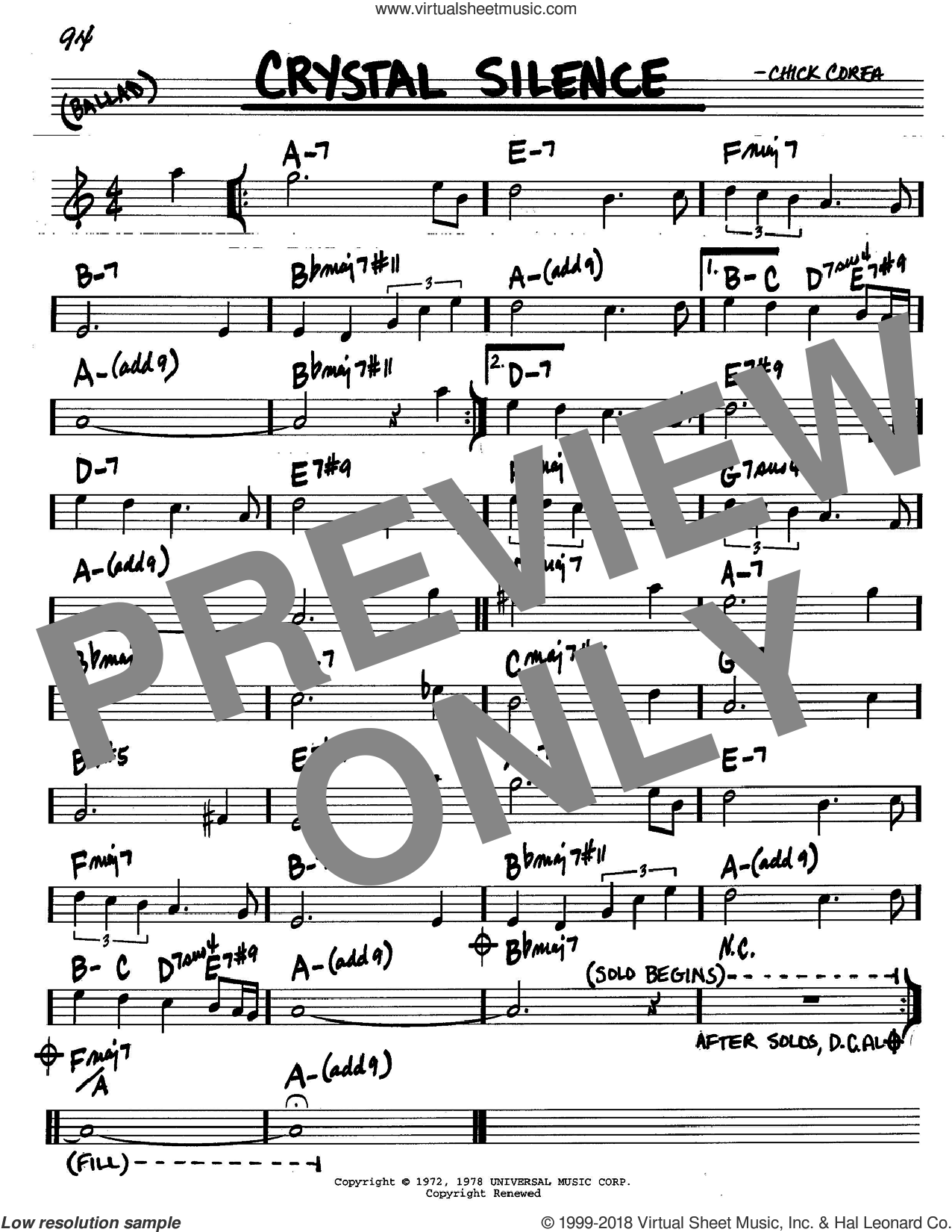Crystal Silence sheet music for voice and other instruments (C) by Chick Corea, intermediate. Score Image Preview.