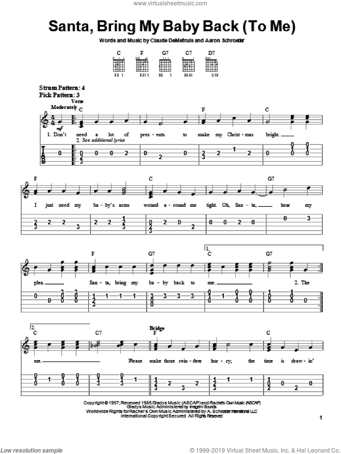 Santa, Bring My Baby Back (To Me) sheet music for guitar solo (chords) by Elvis Presley, Aaron Schroeder and Claude DeMetruis, easy guitar (chords)