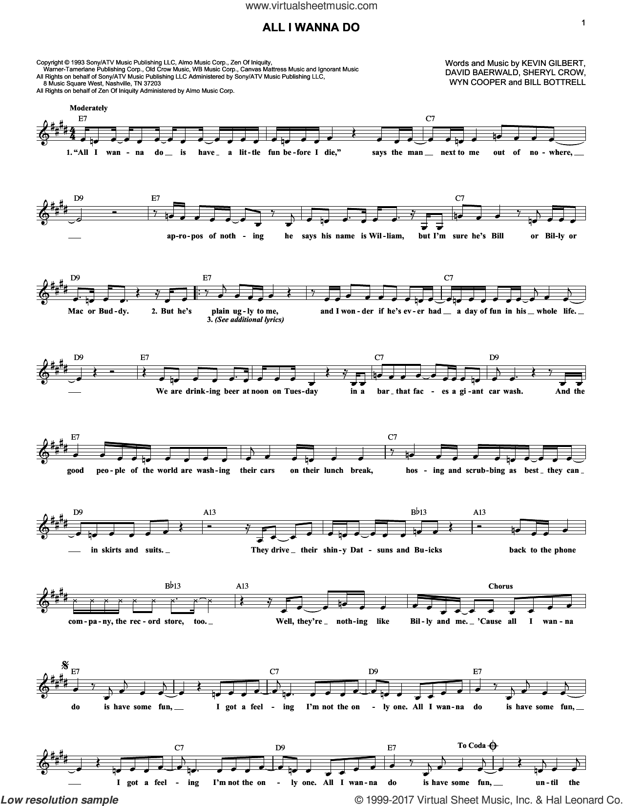 All I Wanna Do sheet music for voice and other instruments (fake book) by Sheryl Crow, Bill Bottrell, David Baerwald, Kevin Gilbert and Wyn Cooper, intermediate skill level