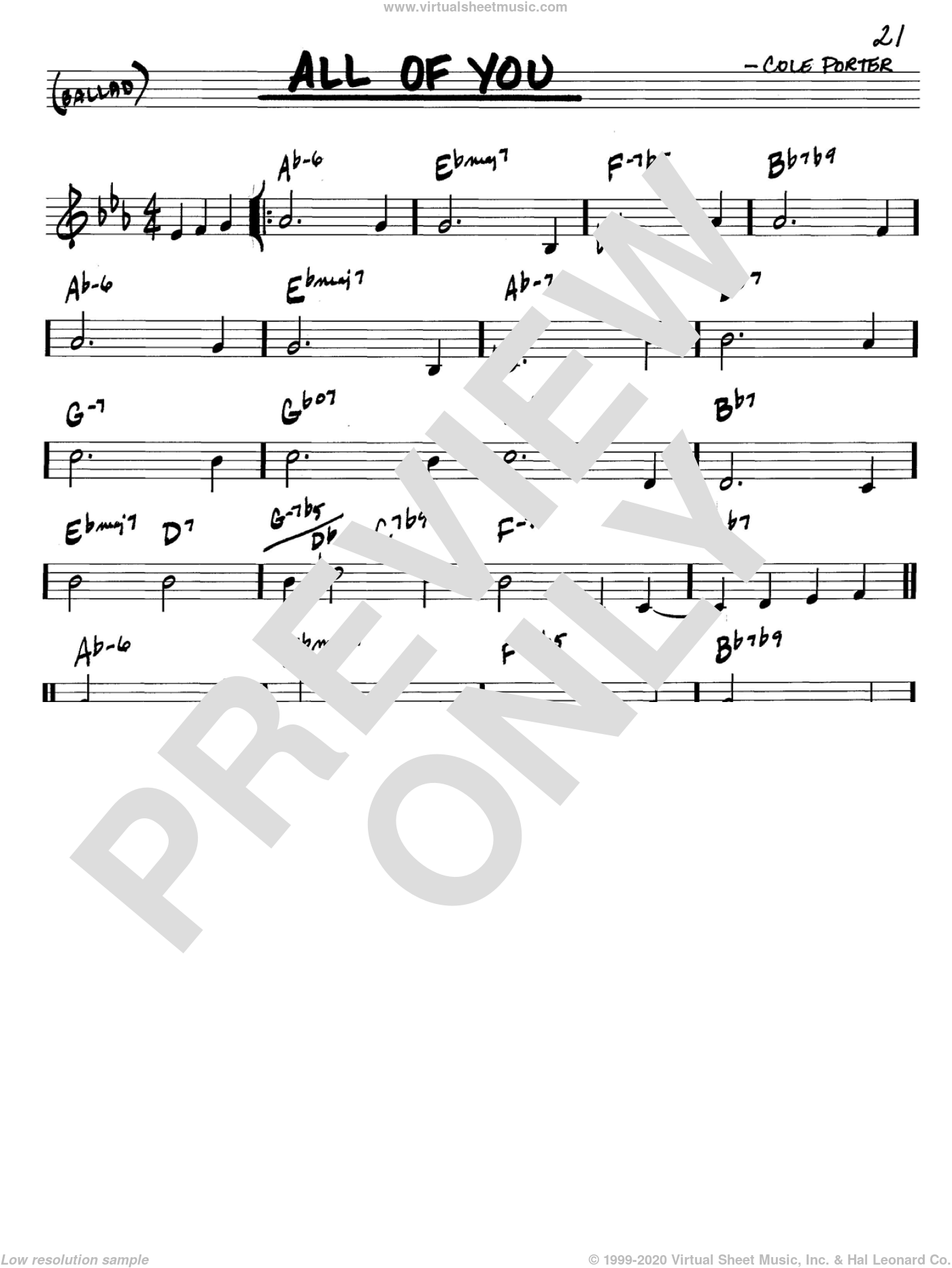 All Of You sheet music for voice and other instruments (C) by Cole Porter. Score Image Preview.