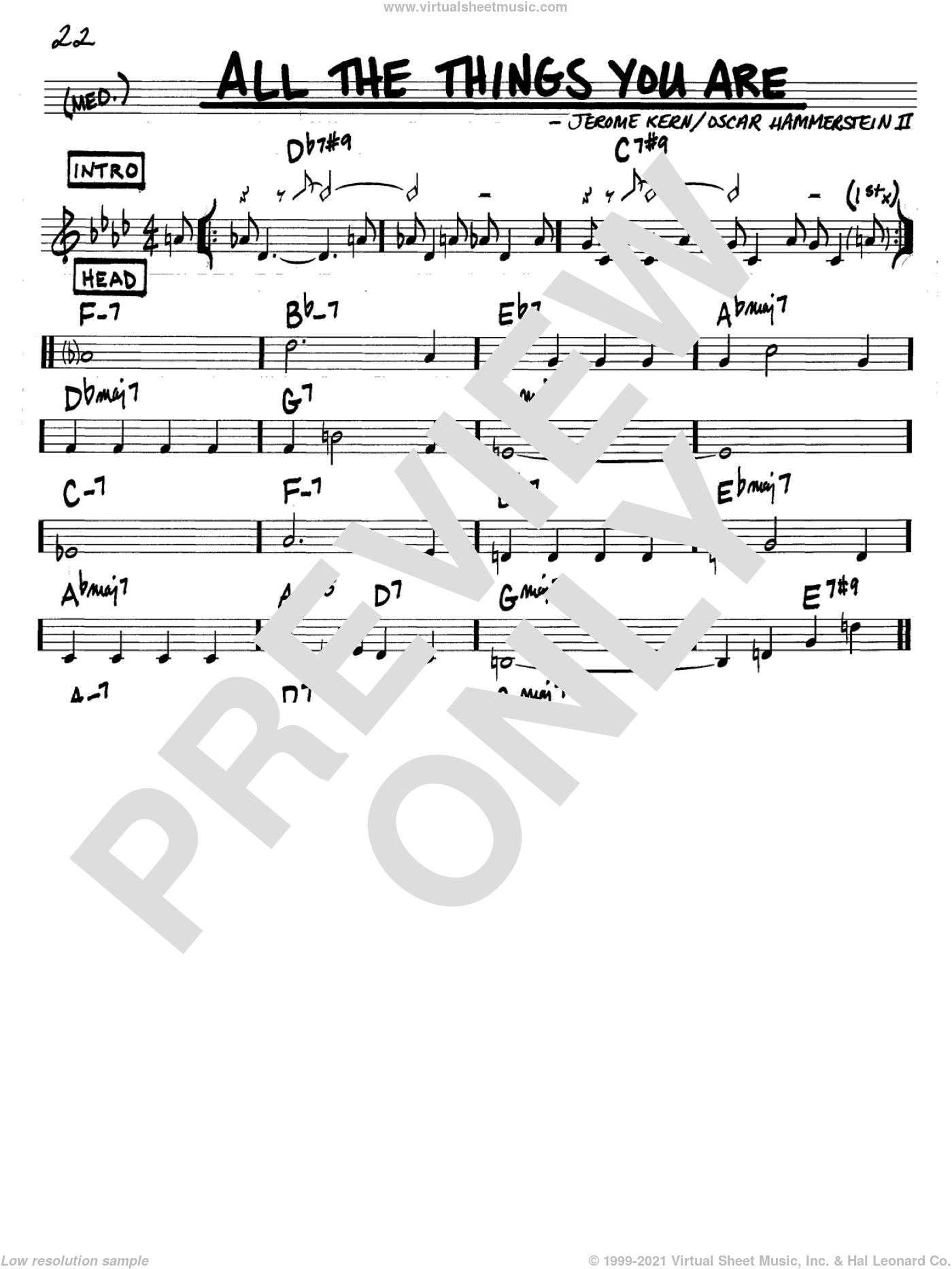All The Things You Are sheet music for voice and other instruments (C) by Oscar II Hammerstein