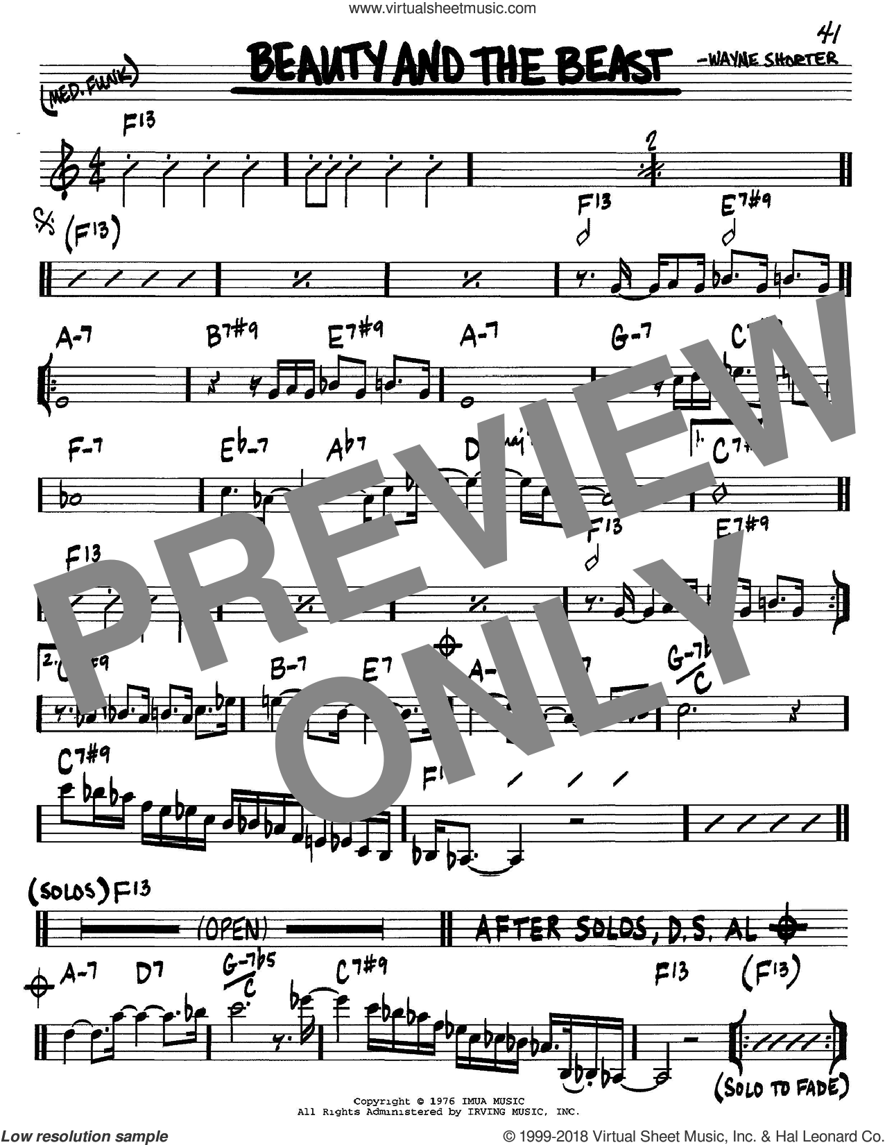 Beauty And The Beast sheet music for voice and other instruments (C) by Wayne Shorter. Score Image Preview.