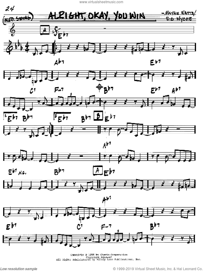 Alright, Okay, You Win sheet music for voice and other instruments (in C) by Peggy Lee, intermediate