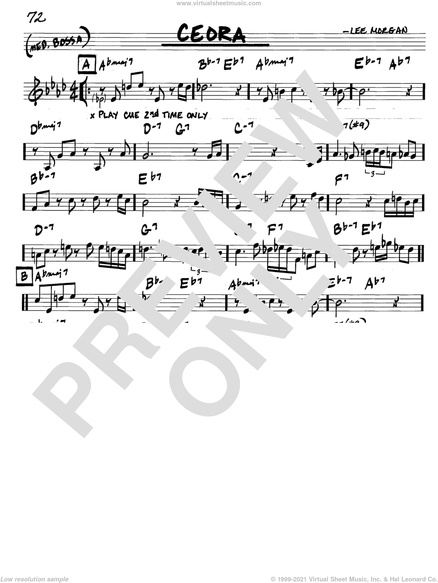 Ceora sheet music for voice and other instruments (in C) by Lee Morgan, intermediate skill level