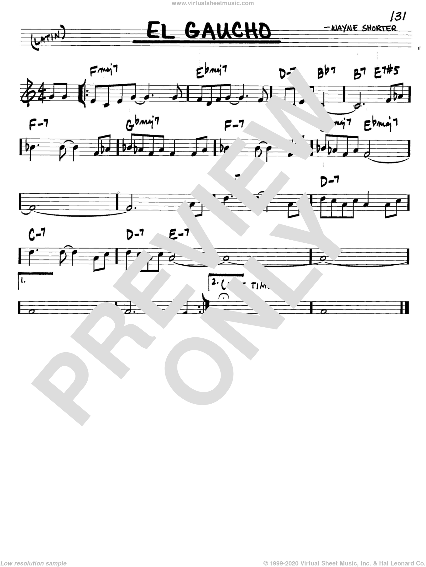 El Gaucho sheet music for voice and other instruments (C) by Wayne Shorter. Score Image Preview.