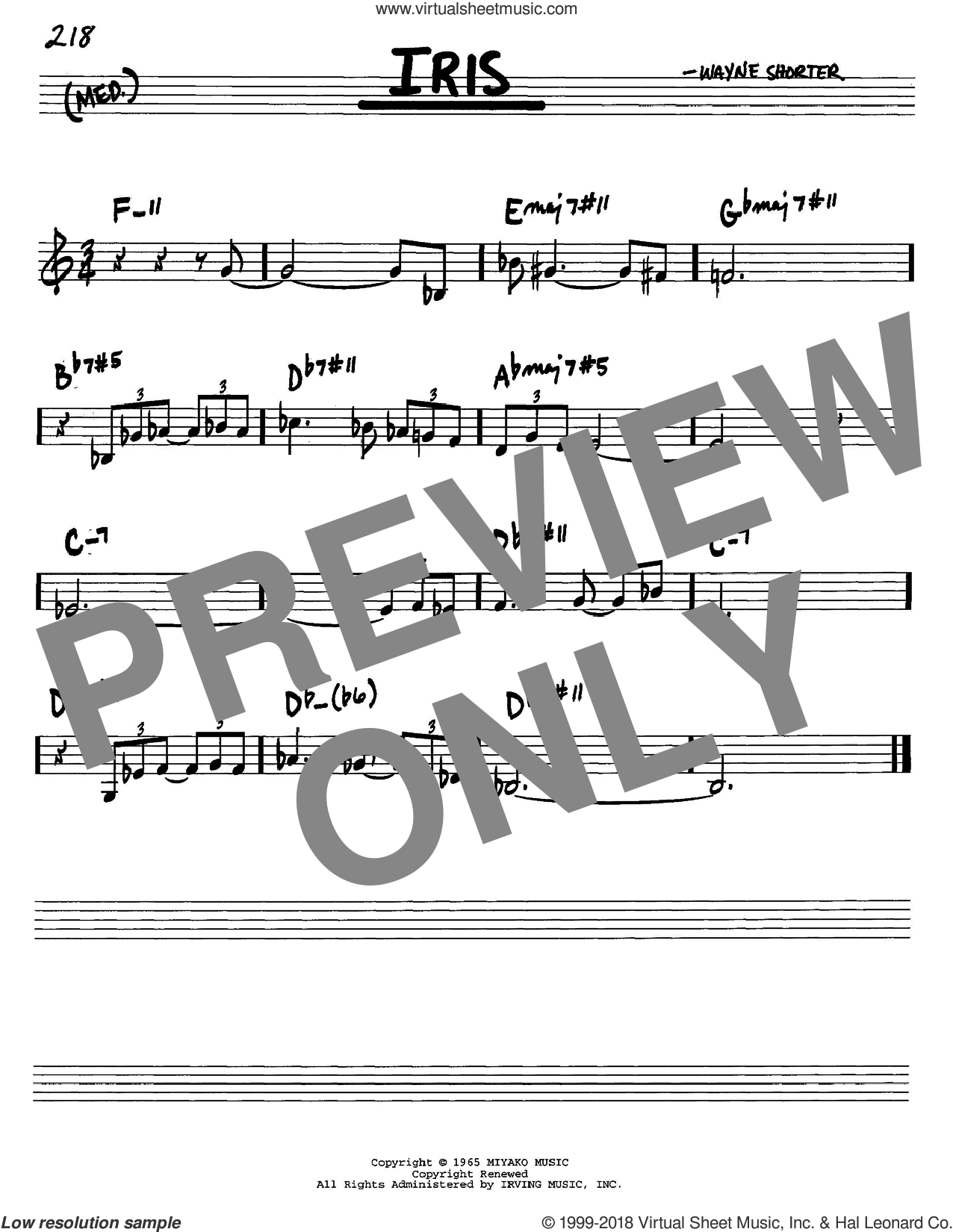 Iris sheet music for voice and other instruments (C) by Wayne Shorter, intermediate voice. Score Image Preview.