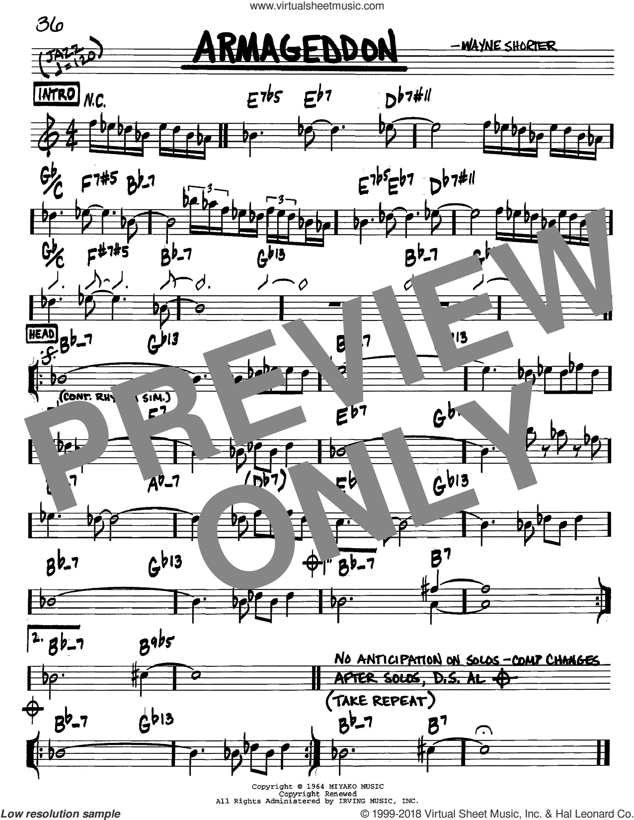 Armageddon sheet music for voice and other instruments (C) by Wayne Shorter, intermediate voice. Score Image Preview.