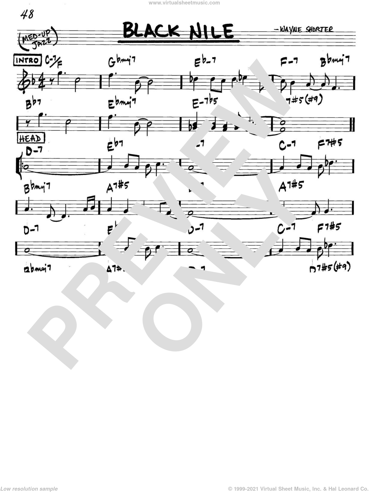 Black Nile sheet music for voice and other instruments (C) by Wayne Shorter. Score Image Preview.