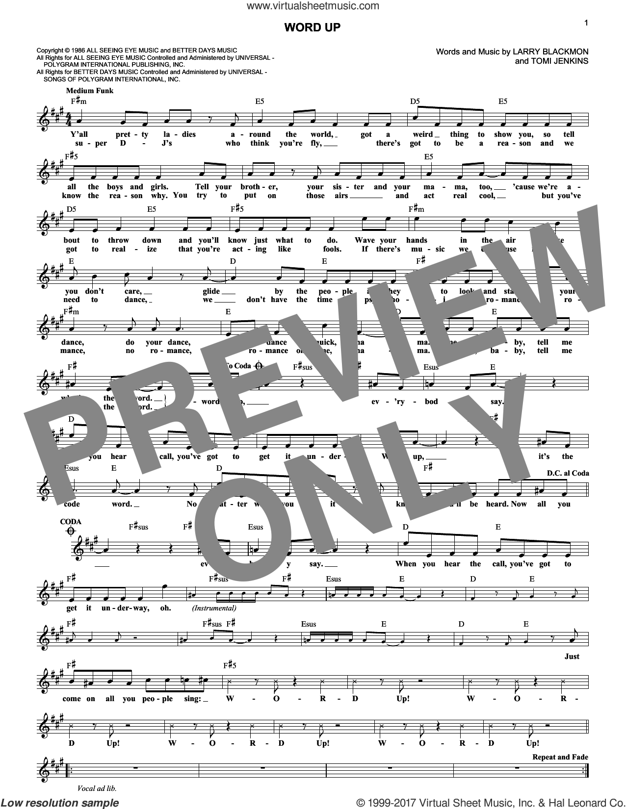 Word Up sheet music for voice and other instruments (fake book) by Cameo, Larry Blackmon and Tomi Jenkins, intermediate skill level