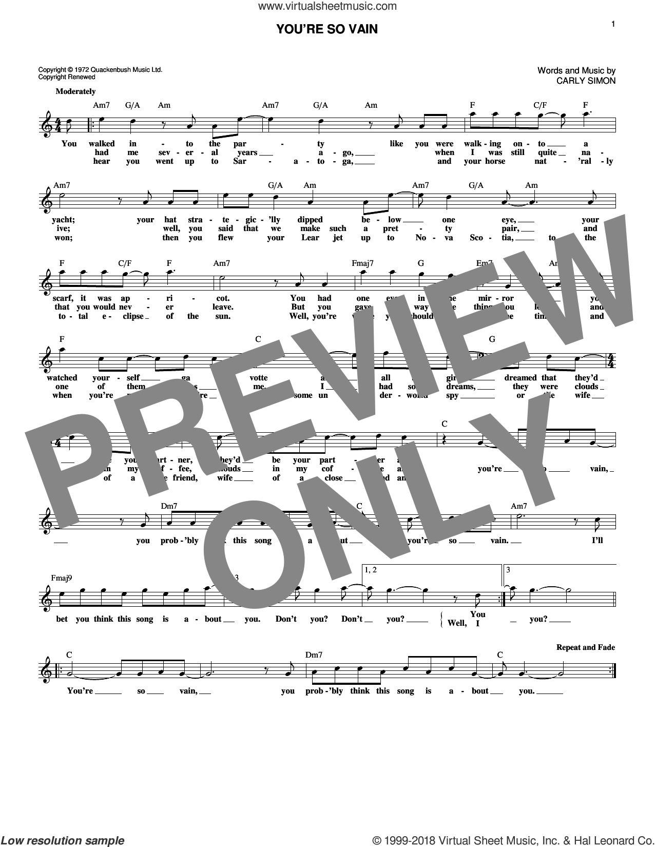 You're So Vain sheet music for voice and other instruments (fake book) by Carly Simon, intermediate skill level