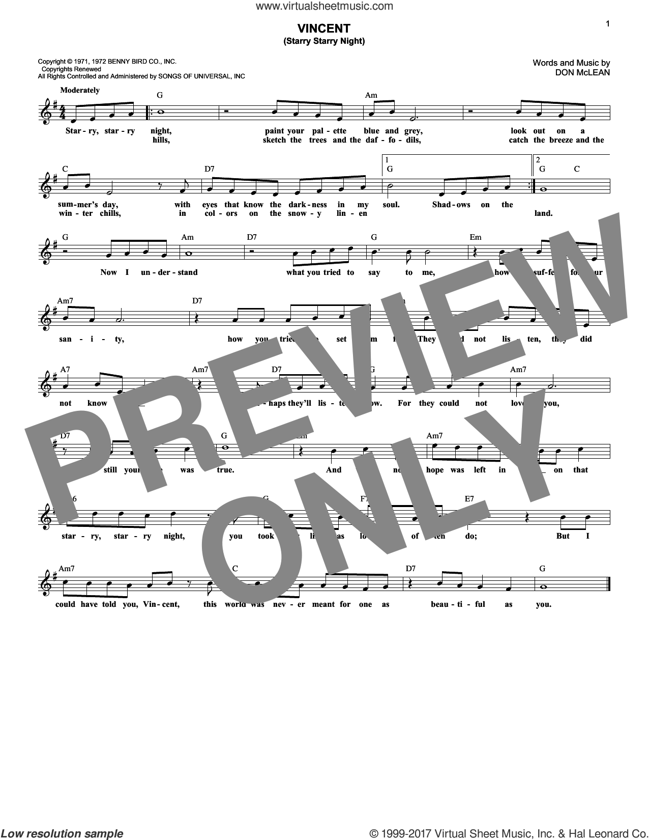 Vincent (Starry Starry Night) sheet music for voice and other instruments (fake book) by Don McLean, intermediate skill level