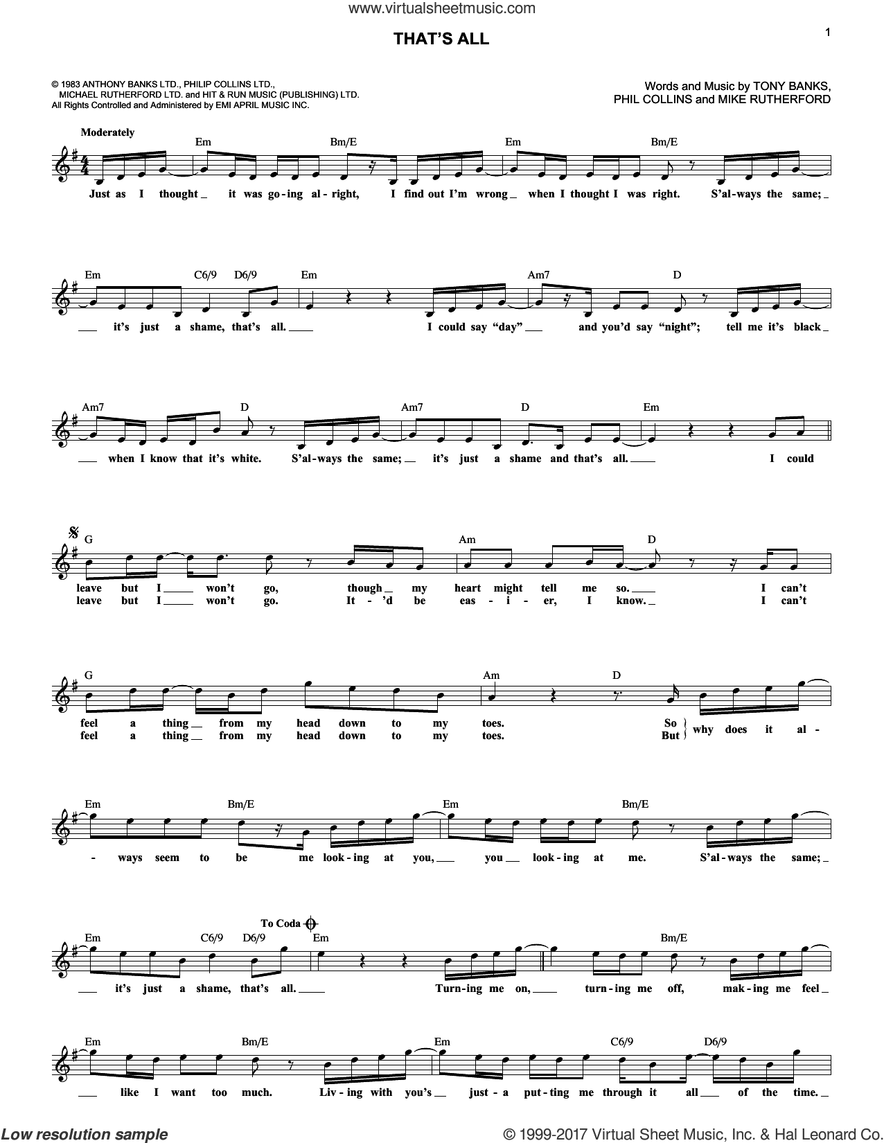 That's All sheet music for voice and other instruments (fake book) by Genesis and Phil Collins, intermediate. Score Image Preview.