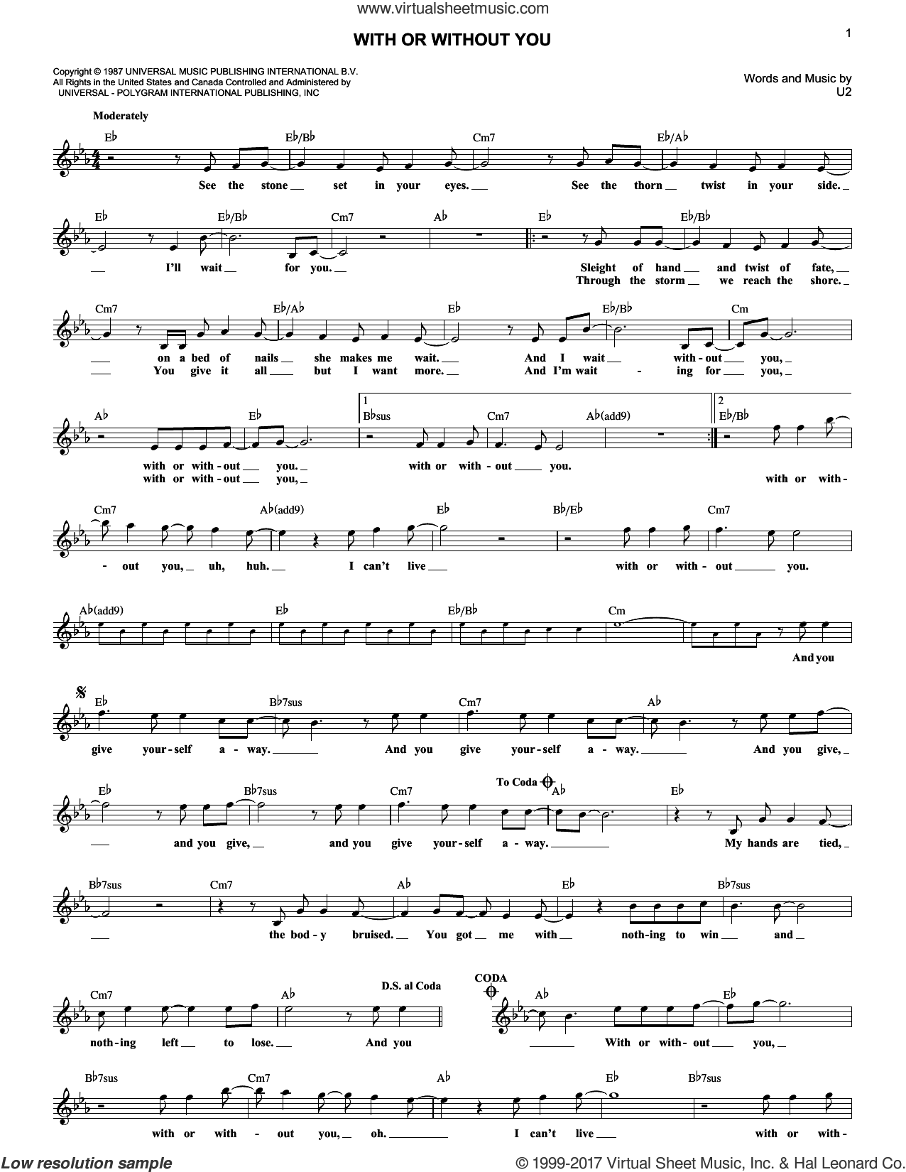 With Or Without You sheet music for voice and other instruments (fake book) by U2, intermediate. Score Image Preview.