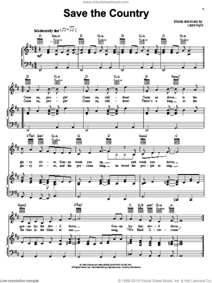 Save The Country sheet music for voice, piano or guitar by Laura Nyro, intermediate skill level