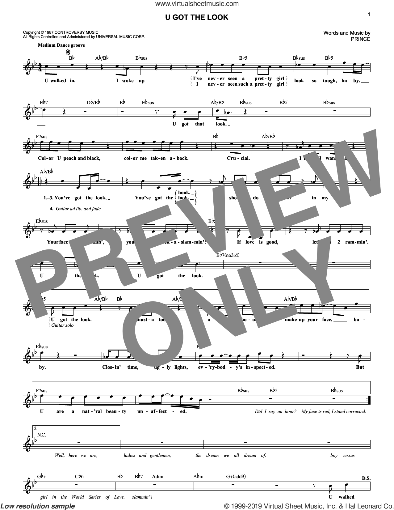 U Got The Look sheet music for voice and other instruments (fake book) by Prince, intermediate skill level