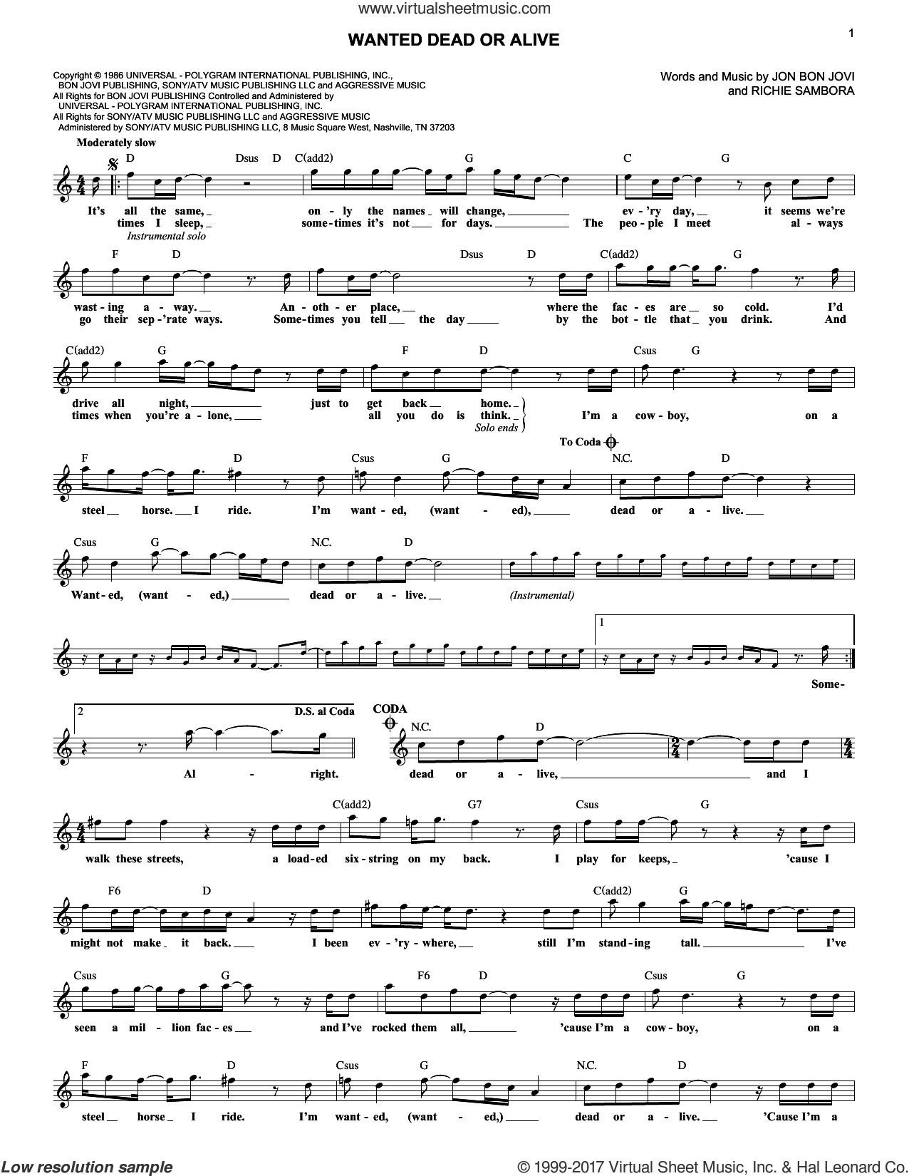 Wanted Dead Or Alive sheet music for voice and other instruments (fake book) by Bon Jovi, Chris Daughtry and Richie Sambora, intermediate voice. Score Image Preview.