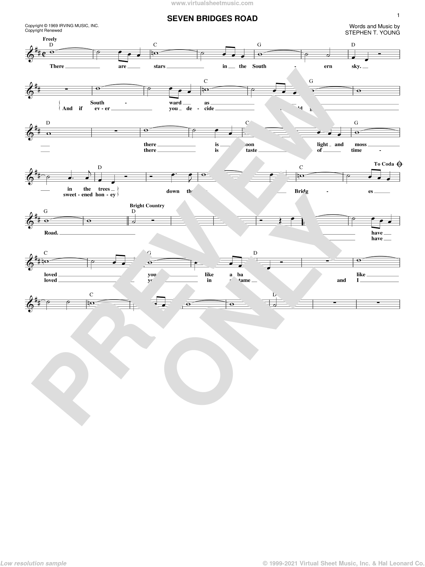 Seven Bridges Road sheet music for voice and other instruments (fake book) by The Eagles and Stephen T. Young, intermediate skill level