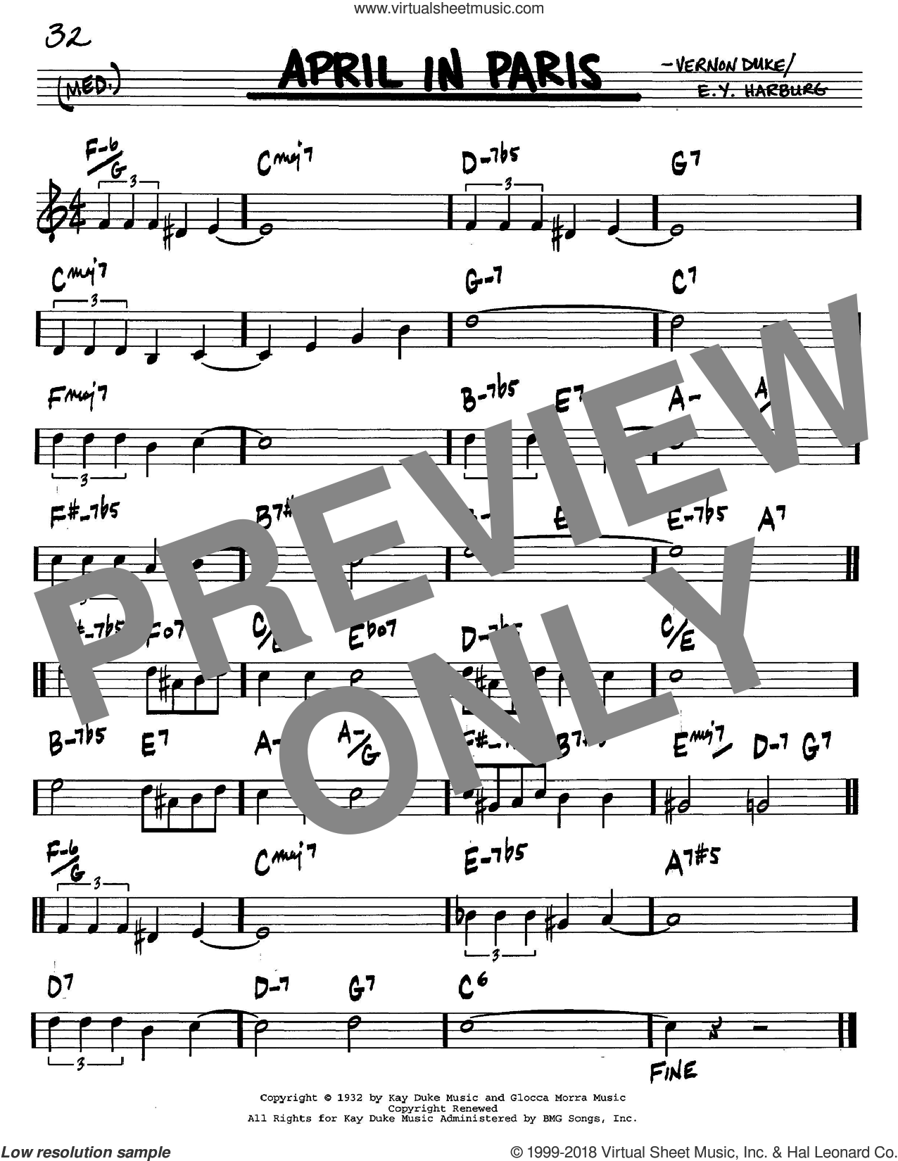 April In Paris sheet music for voice and other instruments (in C) by E.Y. Harburg, Count Basie and Vernon Duke, intermediate skill level