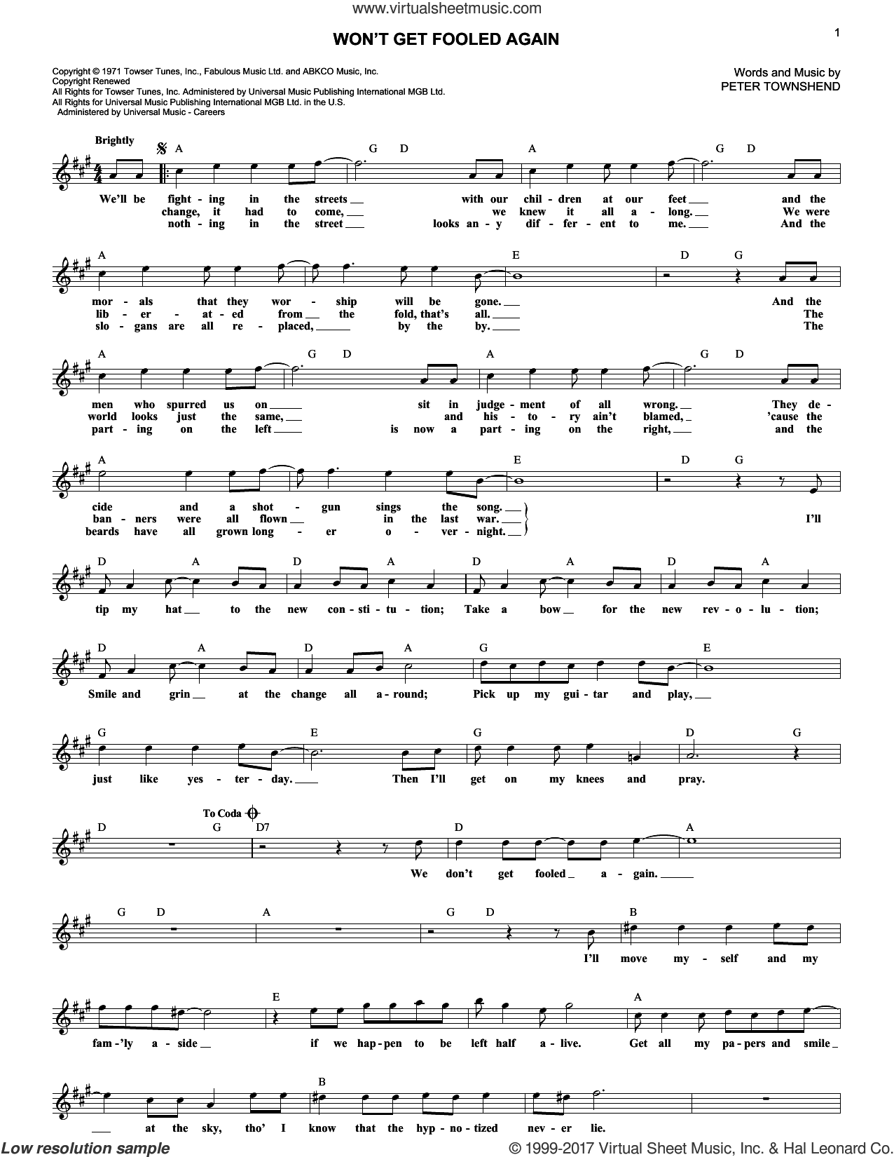 Won't Get Fooled Again sheet music for voice and other instruments (fake book) by The Who and Pete Townshend, intermediate skill level