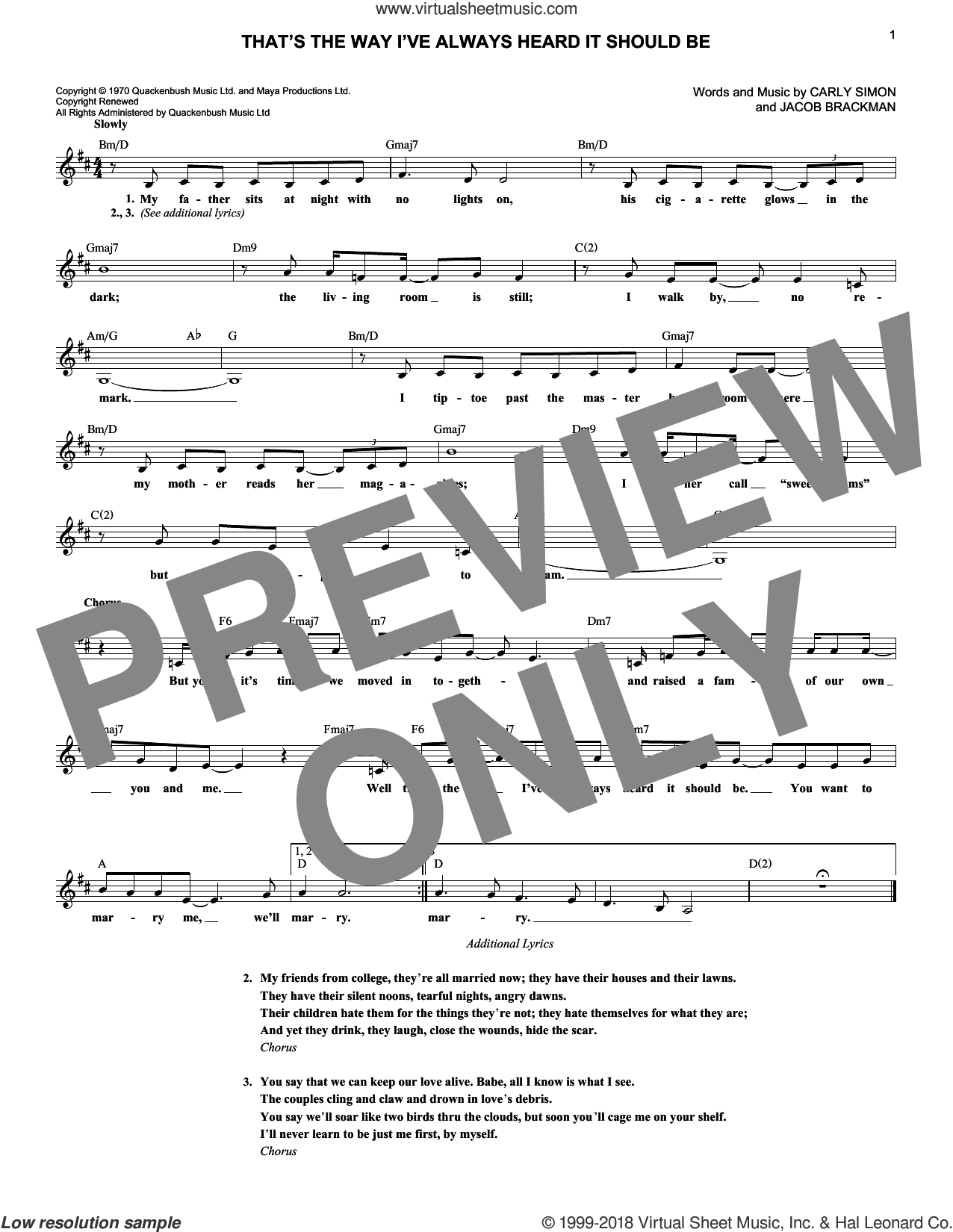That's The Way I've Always Heard It Should Be sheet music for voice and other instruments (fake book) by Carly Simon and Jacob Brackman, intermediate skill level