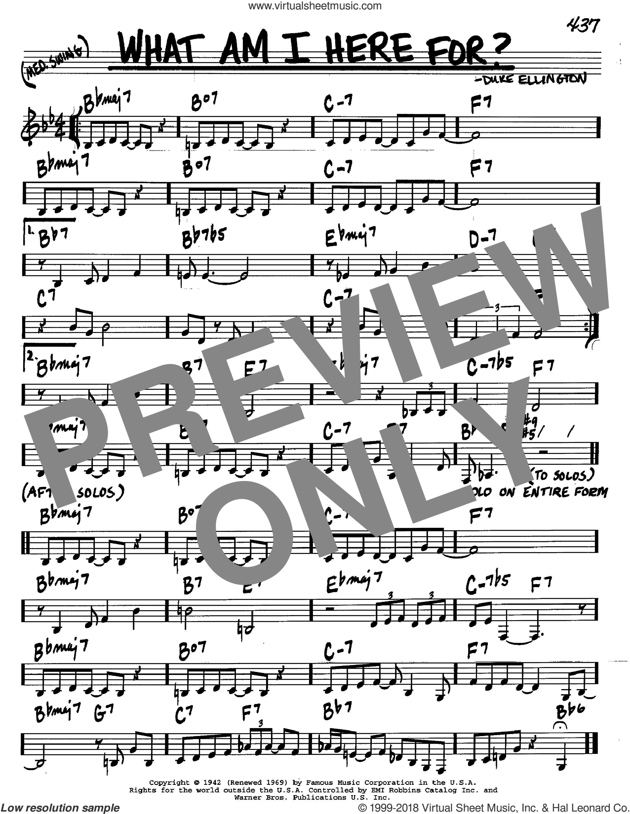 What Am I Here For? sheet music for voice and other instruments (in C) by Duke Ellington, intermediate