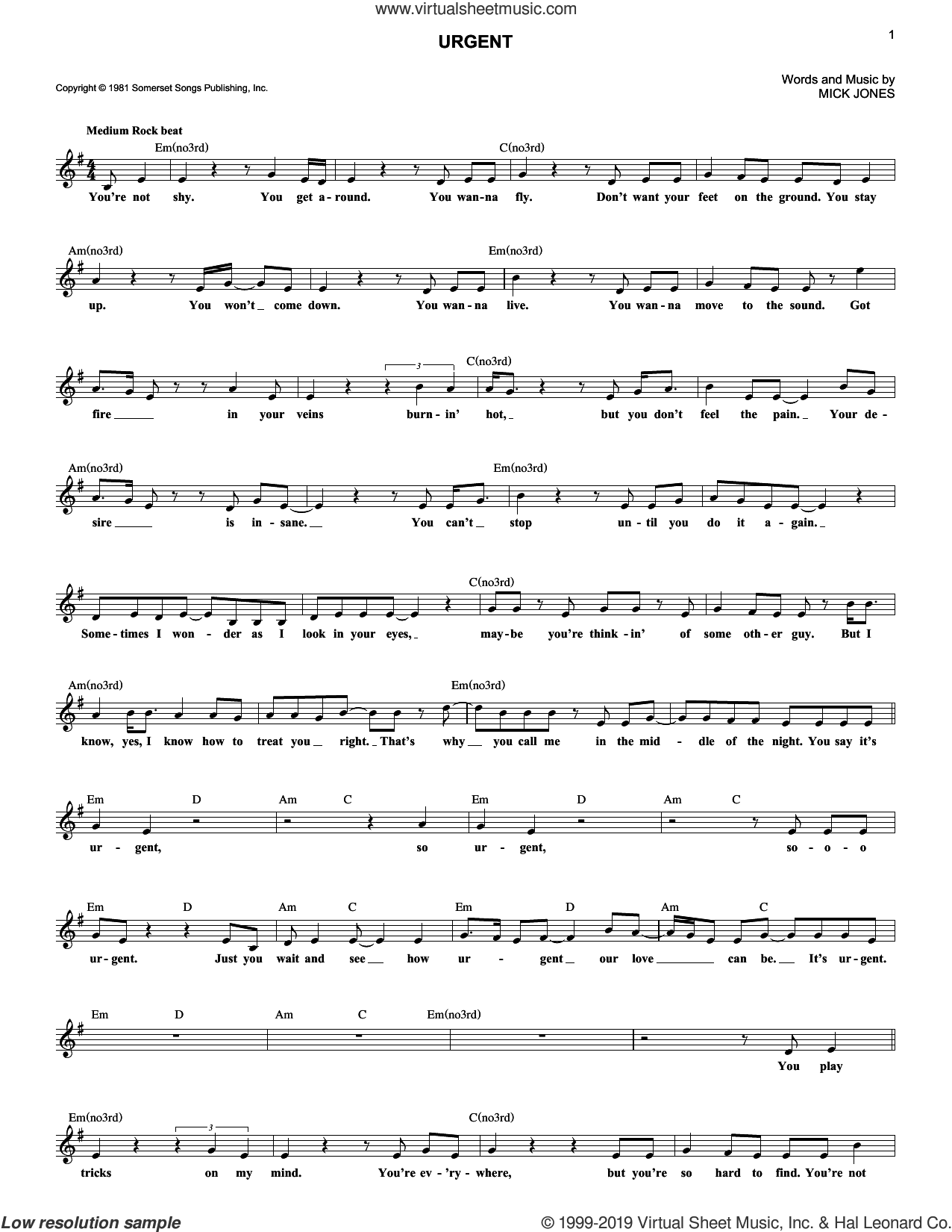 Urgent sheet music for voice and other instruments (fake book) by Foreigner and Mick Jones, intermediate skill level