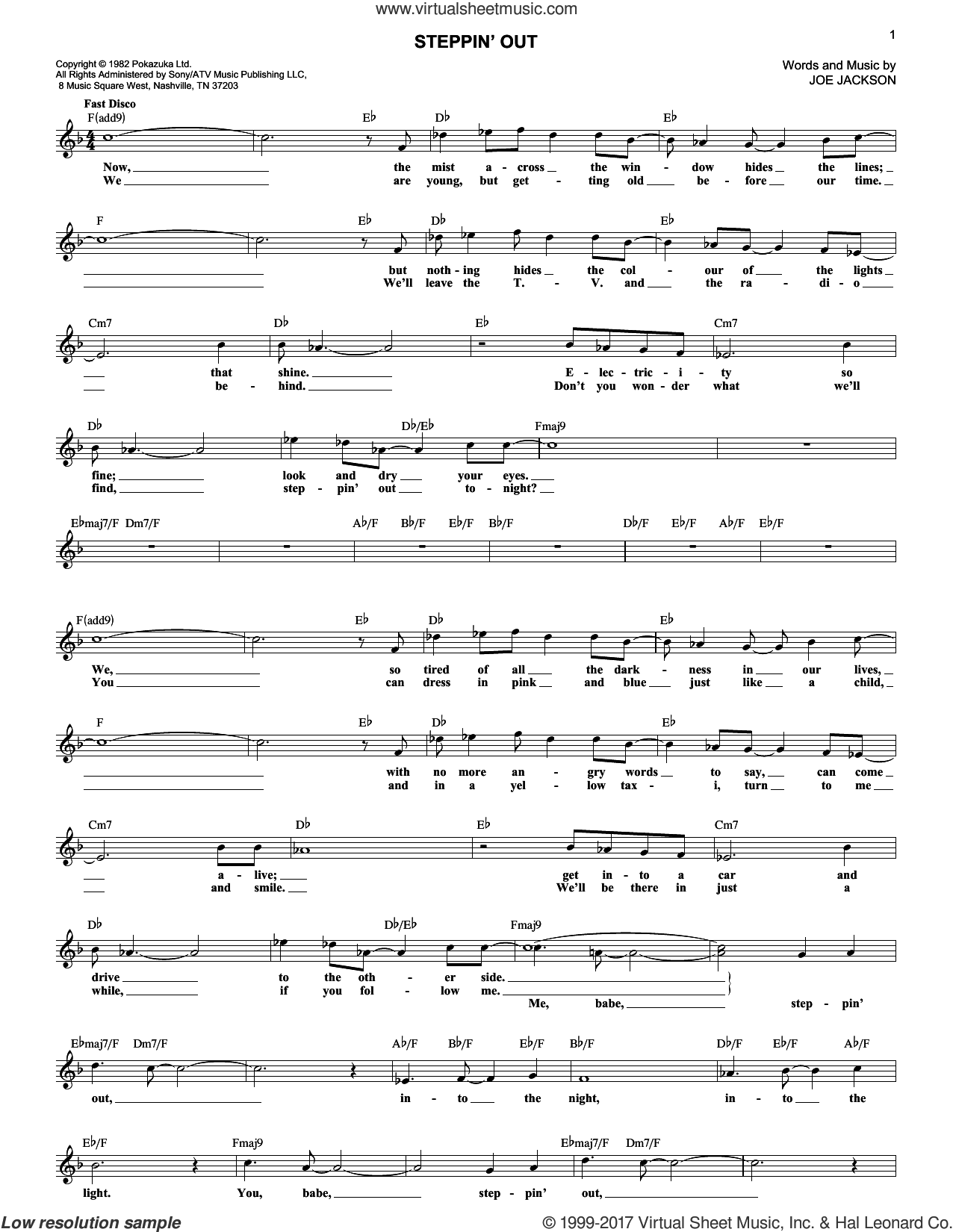 Steppin' Out sheet music for voice and other instruments (fake book) by Joe Jackson, intermediate. Score Image Preview.