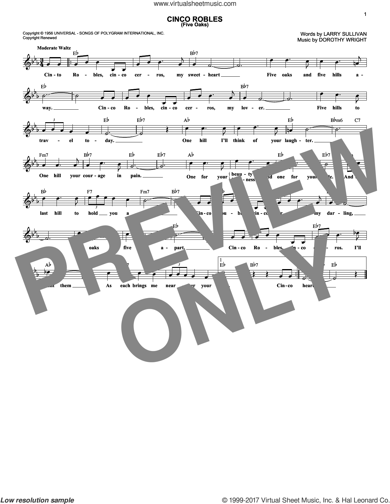 Cinco Robles (Five Oaks) sheet music for voice and other instruments (fake book) by Les Paul & Mary Ford, Russell Arms, Dorothy Wright and Larry Sullivan, intermediate skill level