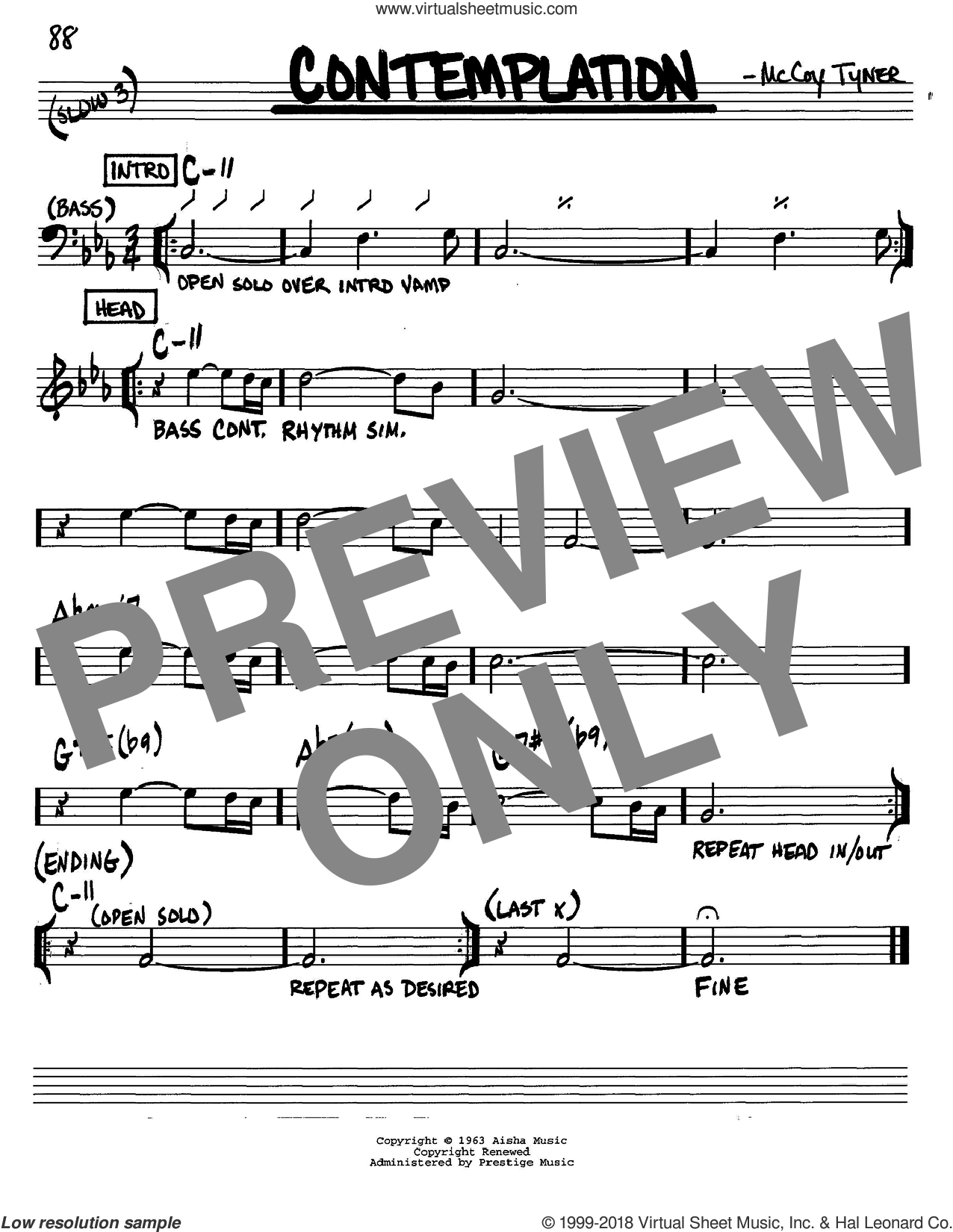 Contemplation sheet music for voice and other instruments (C) by McCoy Tyner. Score Image Preview.