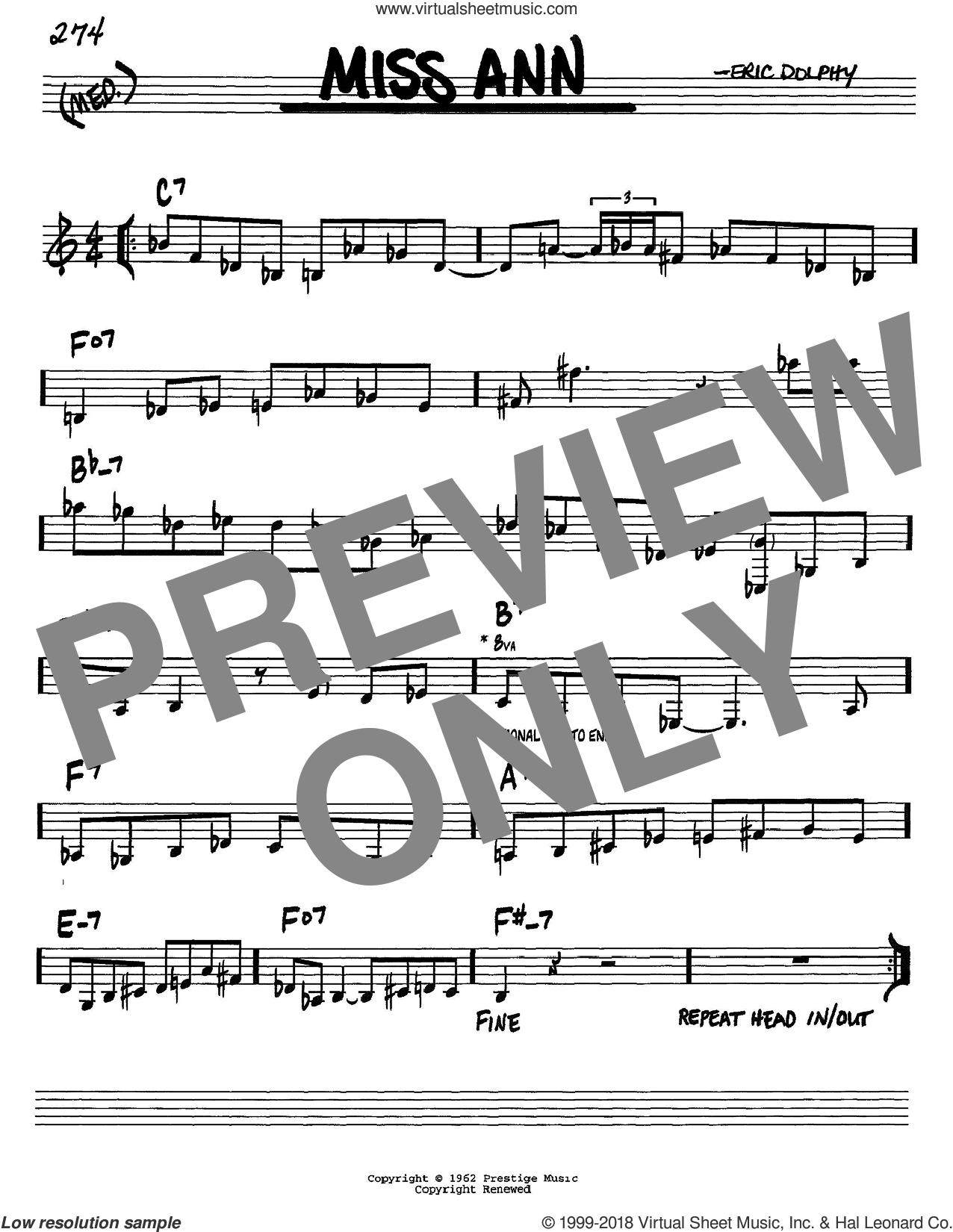 Miss Ann sheet music for voice and other instruments (C) by Eric Dolphy. Score Image Preview.