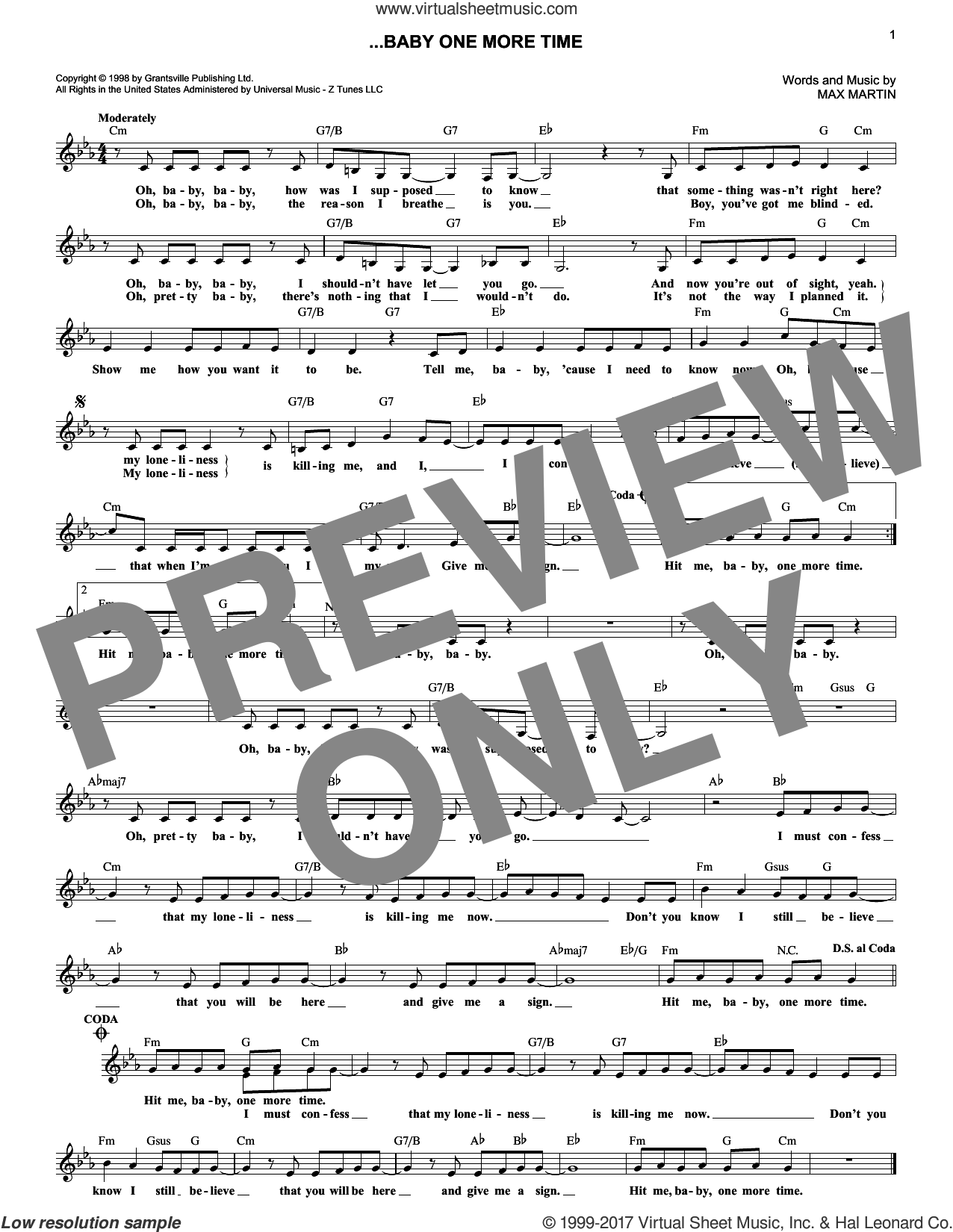 ...Baby One More Time sheet music for voice and other instruments (fake book) by Britney Spears, Merle Travis and Max Martin, intermediate skill level