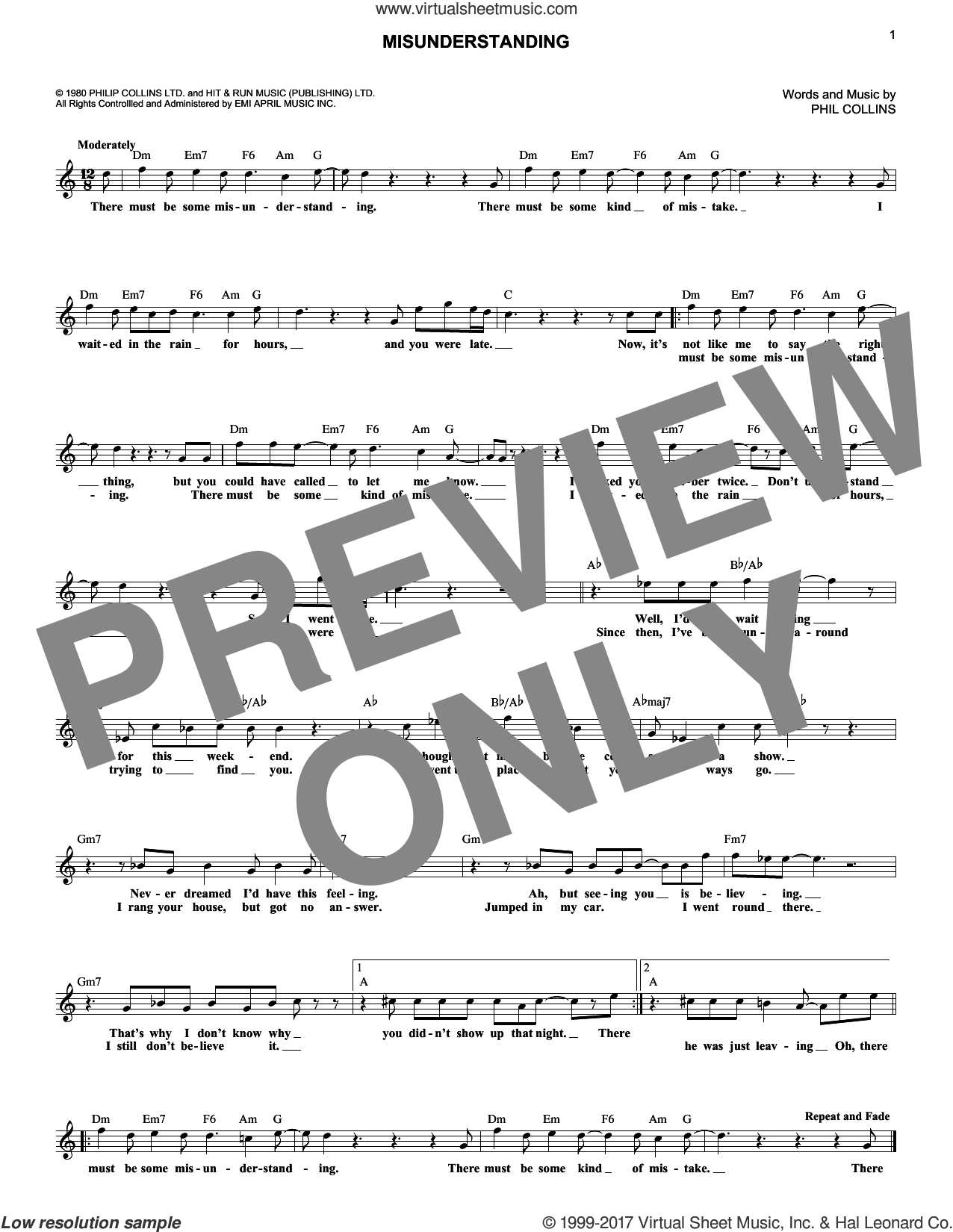 Misunderstanding sheet music for voice and other instruments (fake book) by Genesis and Phil Collins, intermediate skill level