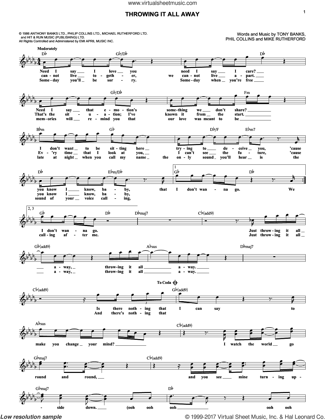 Throwing It All Away sheet music for voice and other instruments (fake book) by Genesis, Mike Rutherford, Phil Collins and Tony Banks, intermediate skill level