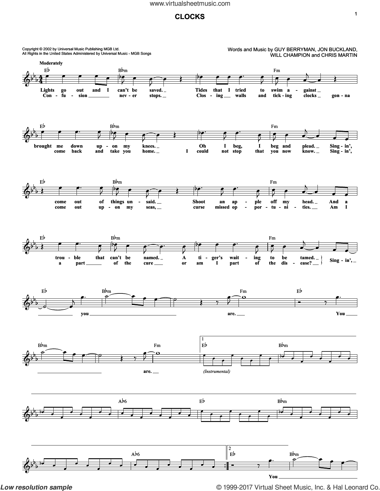 Clocks sheet music for voice and other instruments (fake book) by Guy Berryman, Coldplay, Chris Martin, Jon Buckland and Will Champion, intermediate skill level
