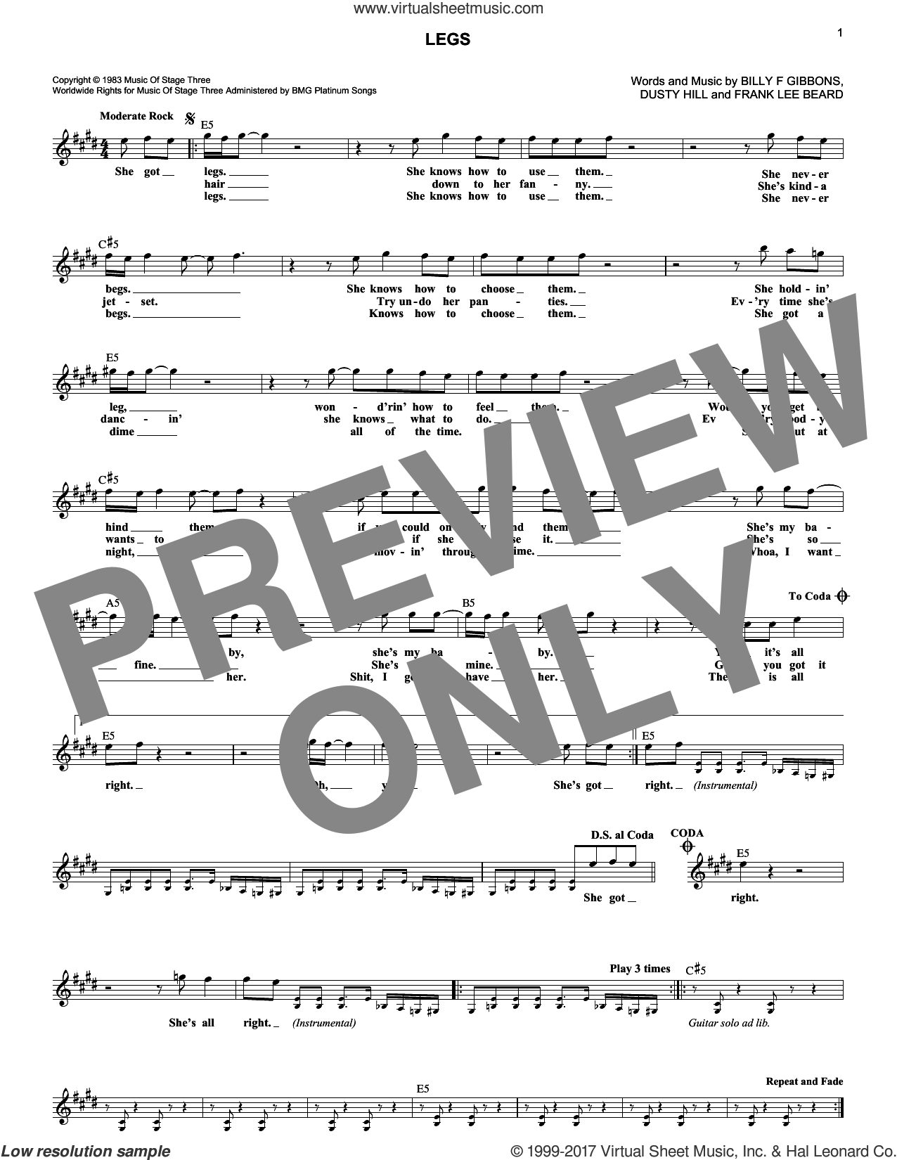 Legs sheet music for voice and other instruments (fake book) by ZZ Top. Score Image Preview.