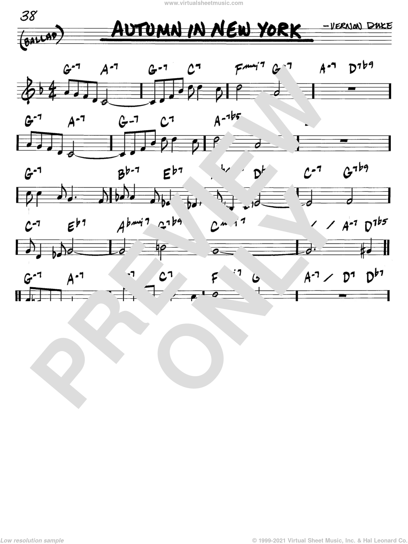 Autumn In New York sheet music for voice and other instruments (C) by Vernon Duke and Bud Powell. Score Image Preview.