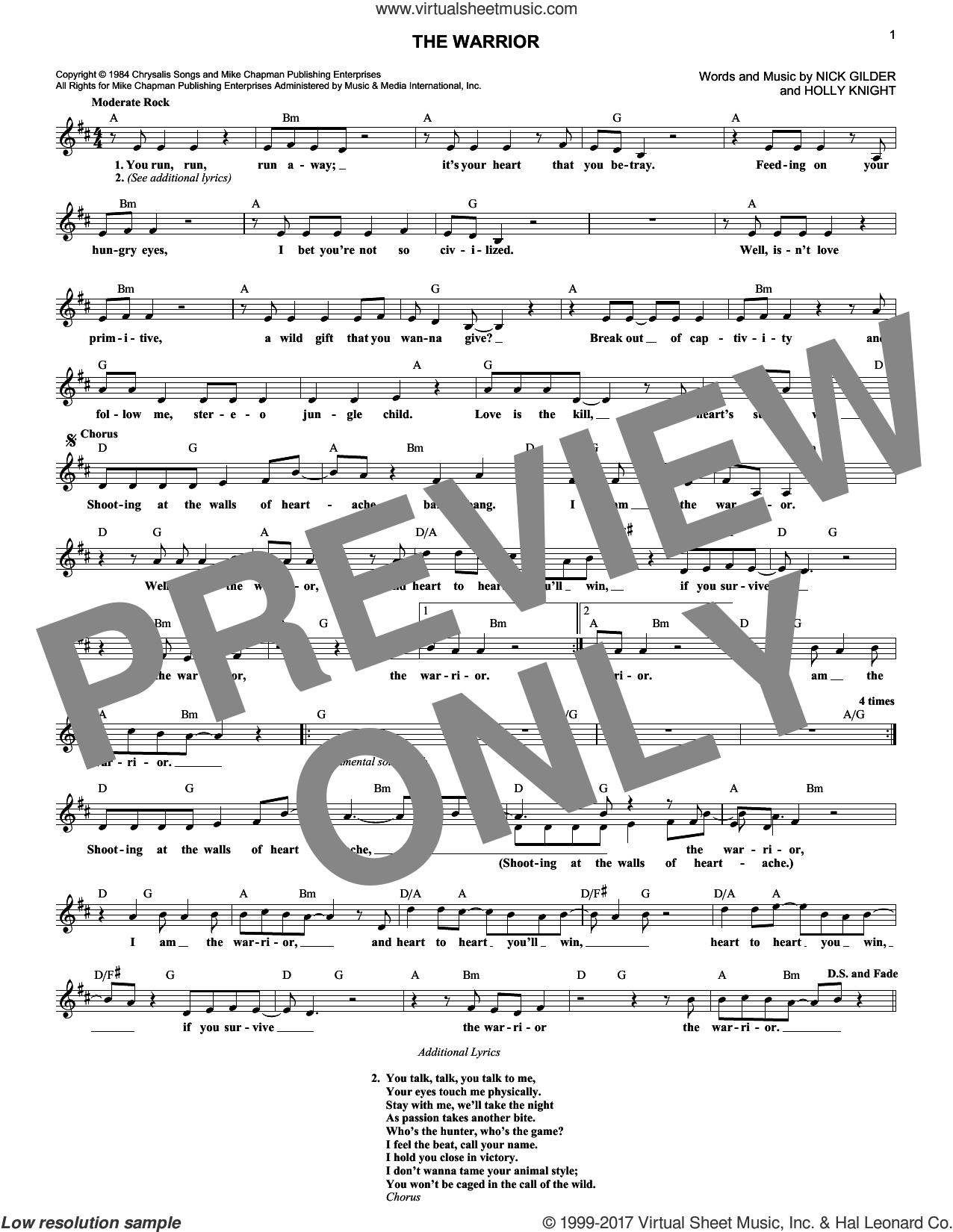 The Warrior sheet music for voice and other instruments (fake book) by Scandal, Holly Knight and Nick Gilder, intermediate skill level