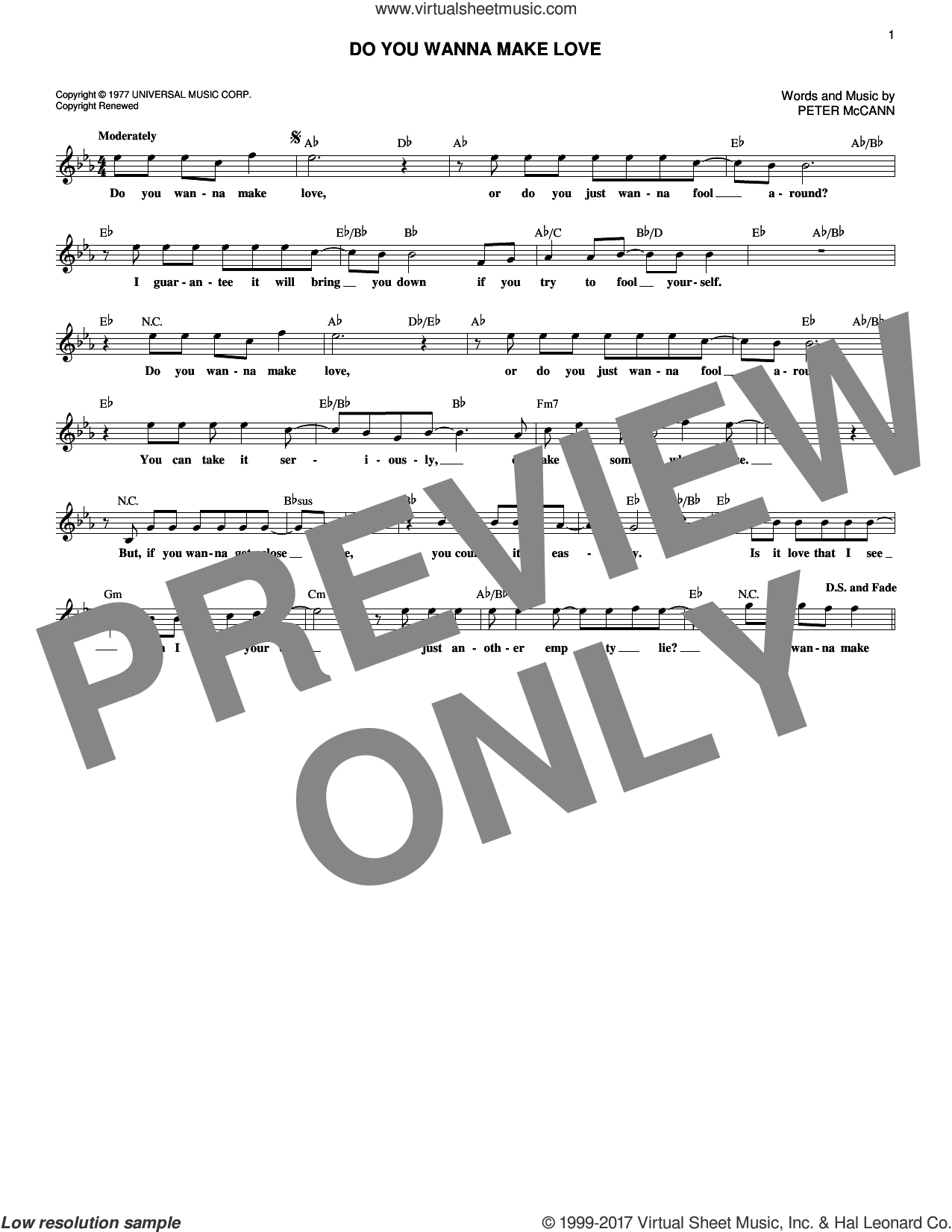 Do You Wanna Make Love sheet music for voice and other instruments (fake book) by Peter McCann, intermediate skill level