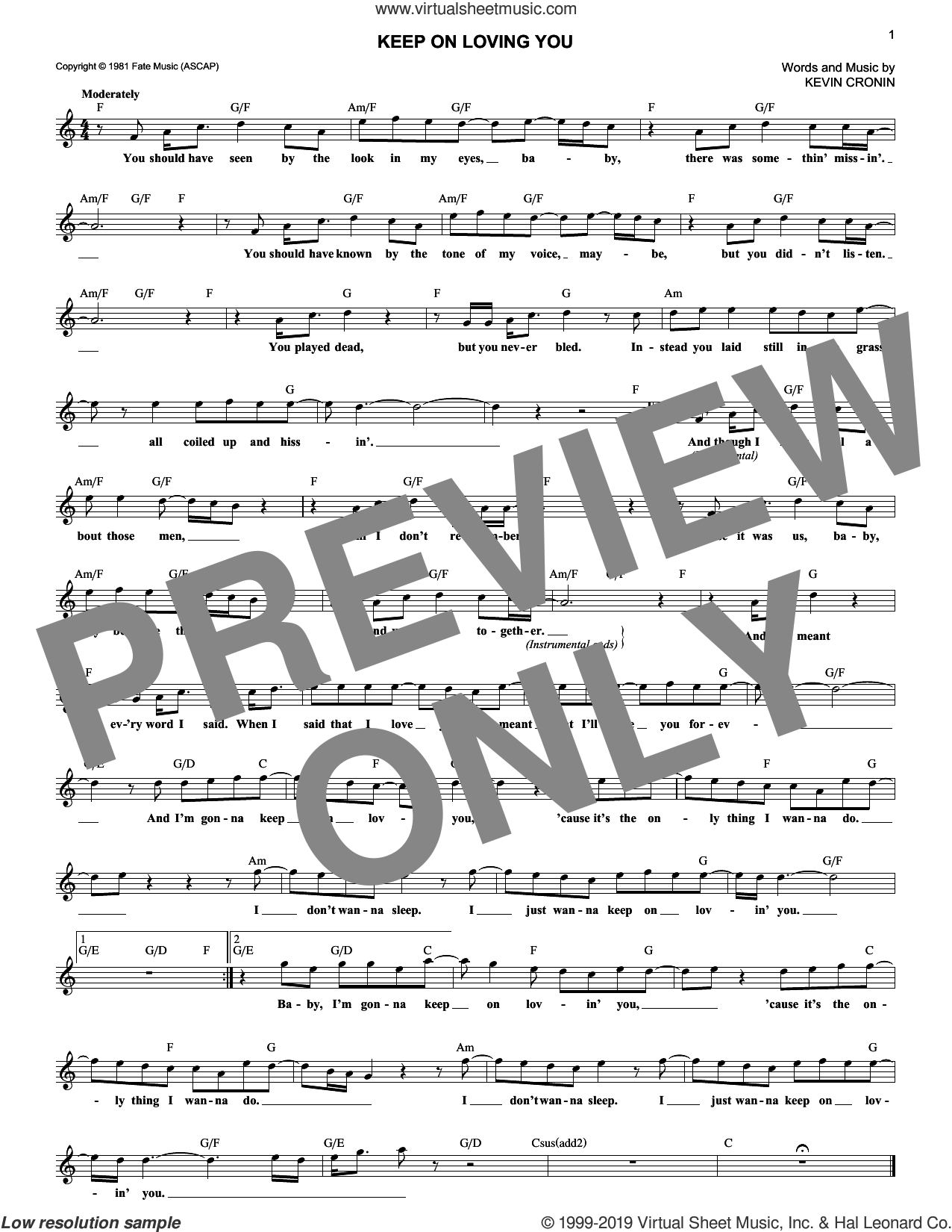 Keep On Loving You sheet music for voice and other instruments (fake book) by Kevin Cronin and REO Speedwagon, intermediate skill level