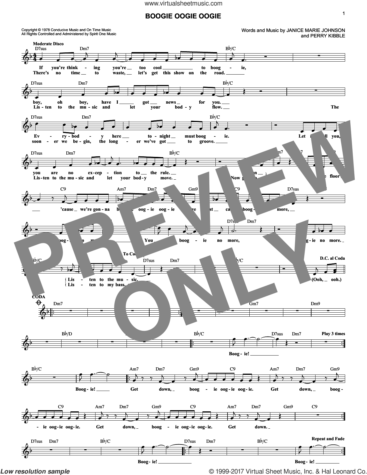 Boogie Oogie Oogie sheet music for voice and other instruments (fake book) by A Taste Of Honey, Janice Marie Johnson and Perry Kibble, intermediate skill level