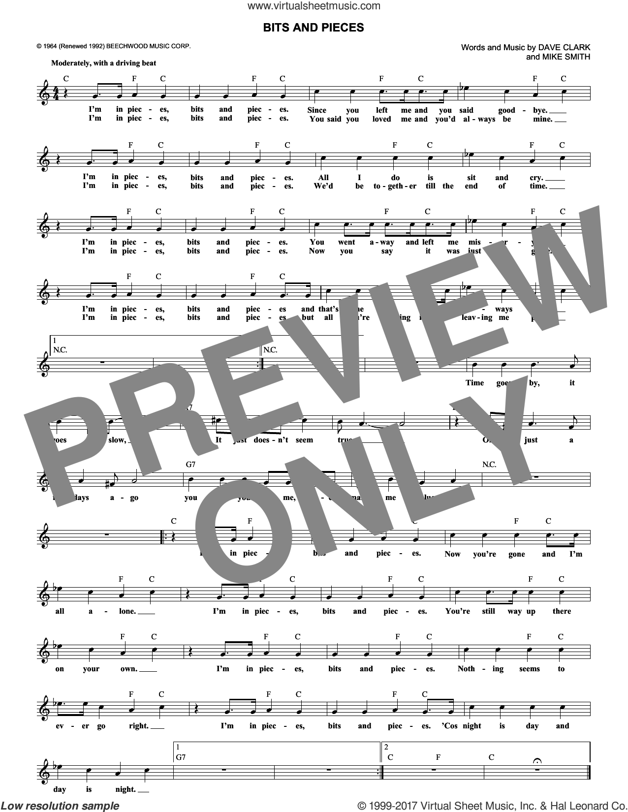 Bits And Pieces sheet music for voice and other instruments (fake book) by Dave Clark Five, Dave Clark and Michael W. Smith, intermediate skill level