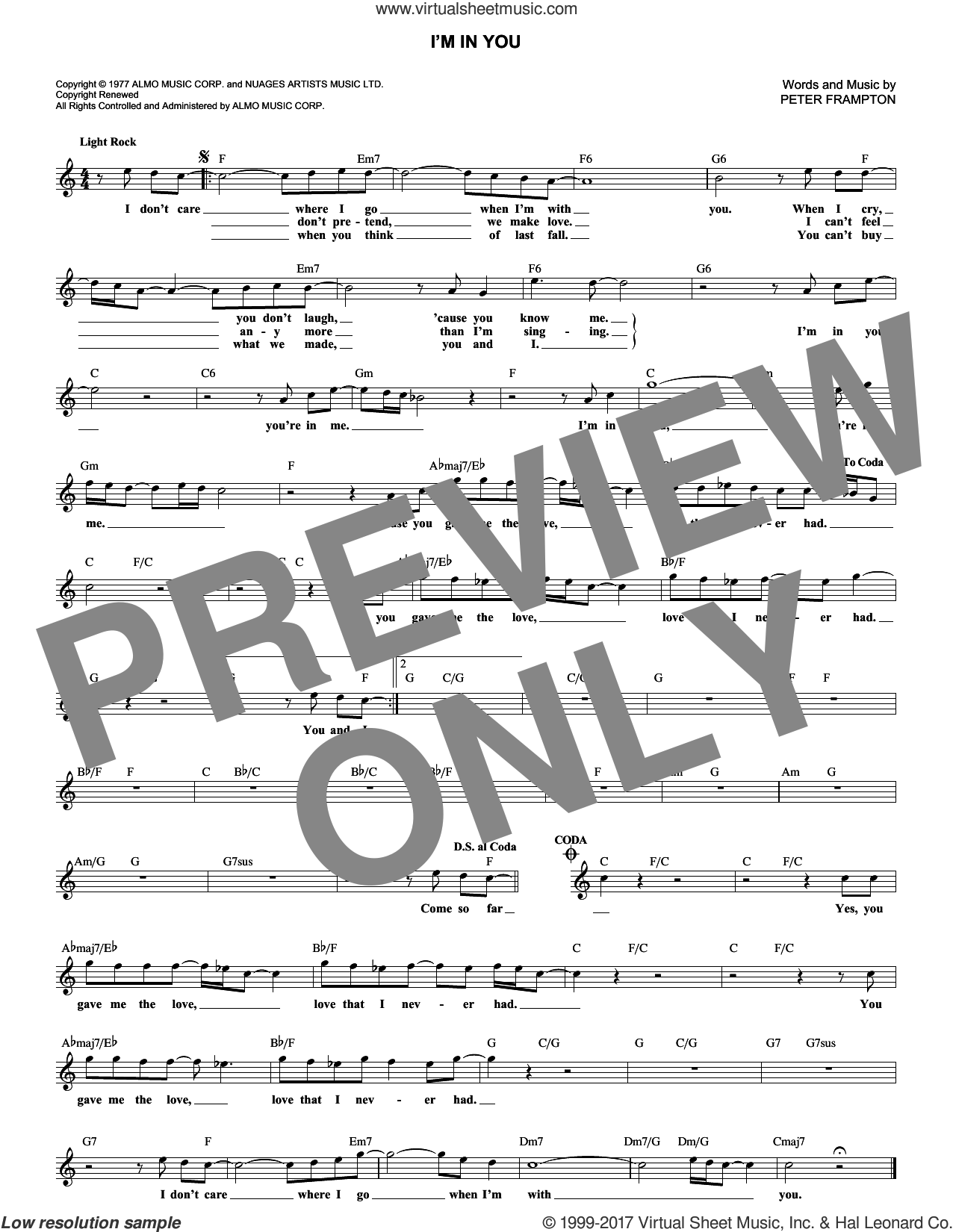 I'm In You sheet music for voice and other instruments (fake book) by Peter Frampton. Score Image Preview.