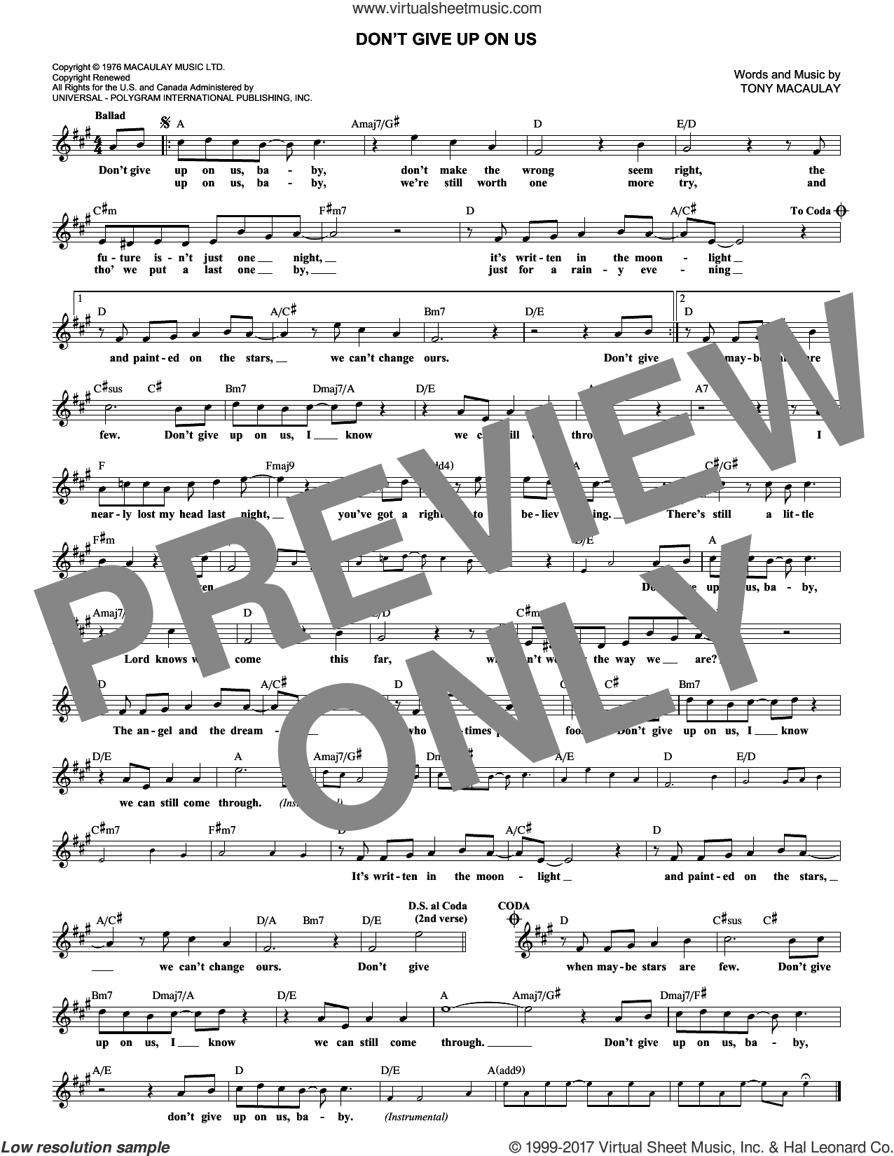 Don't Give Up On Us sheet music for voice and other instruments (fake book) by Tony MacAuley. Score Image Preview.