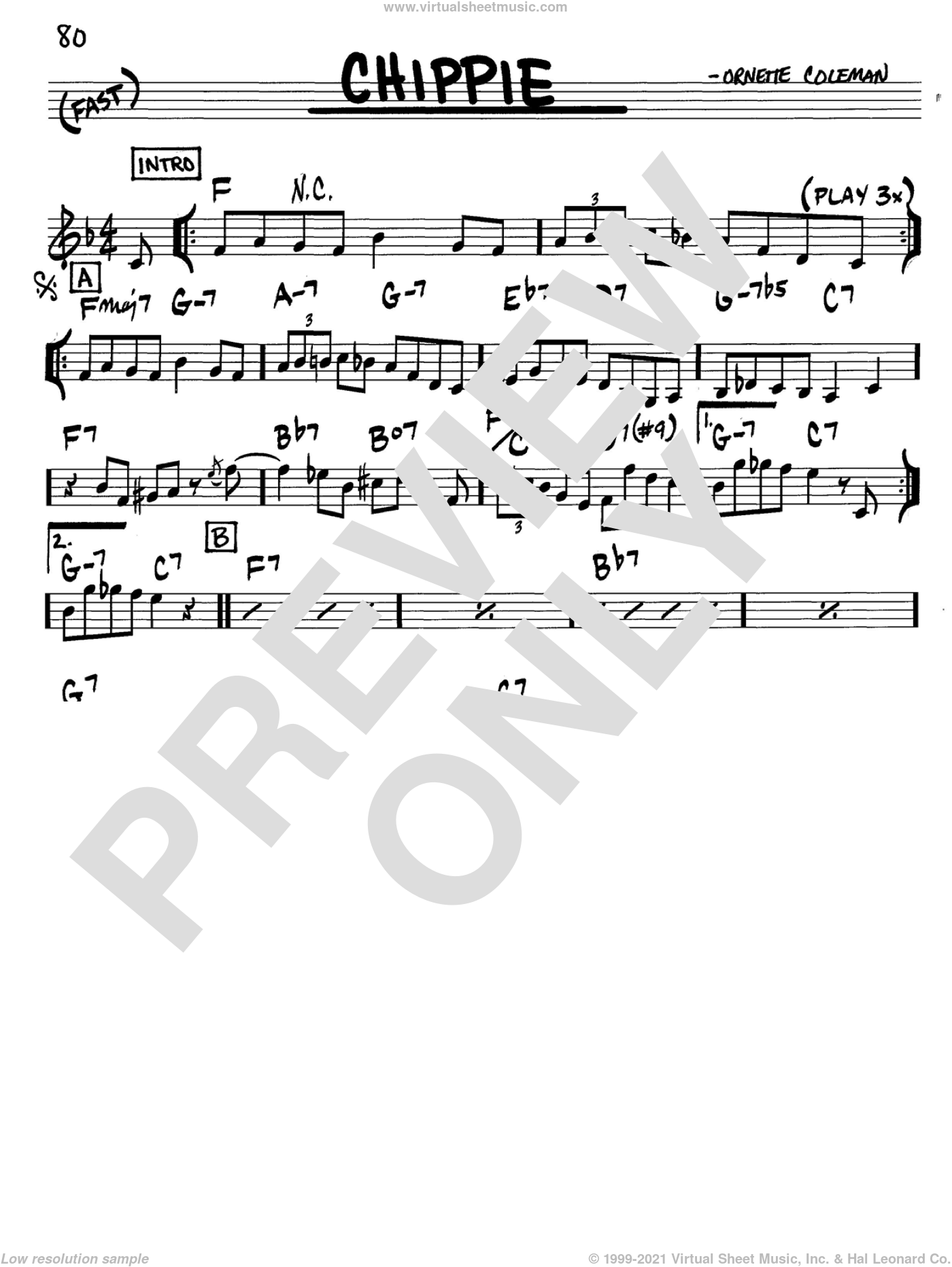 Chippie sheet music for voice and other instruments (in C) by Ornette Coleman, intermediate. Score Image Preview.