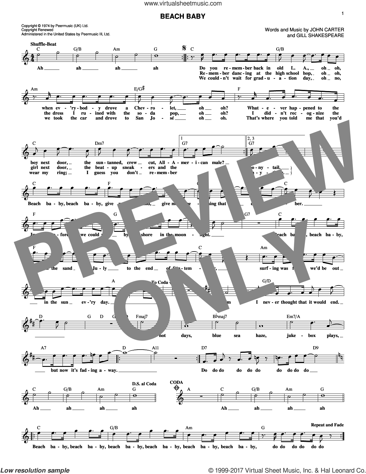 Beach Baby sheet music for voice and other instruments (fake book) by The First Class, Gill Shakespeare and John Carter, intermediate skill level